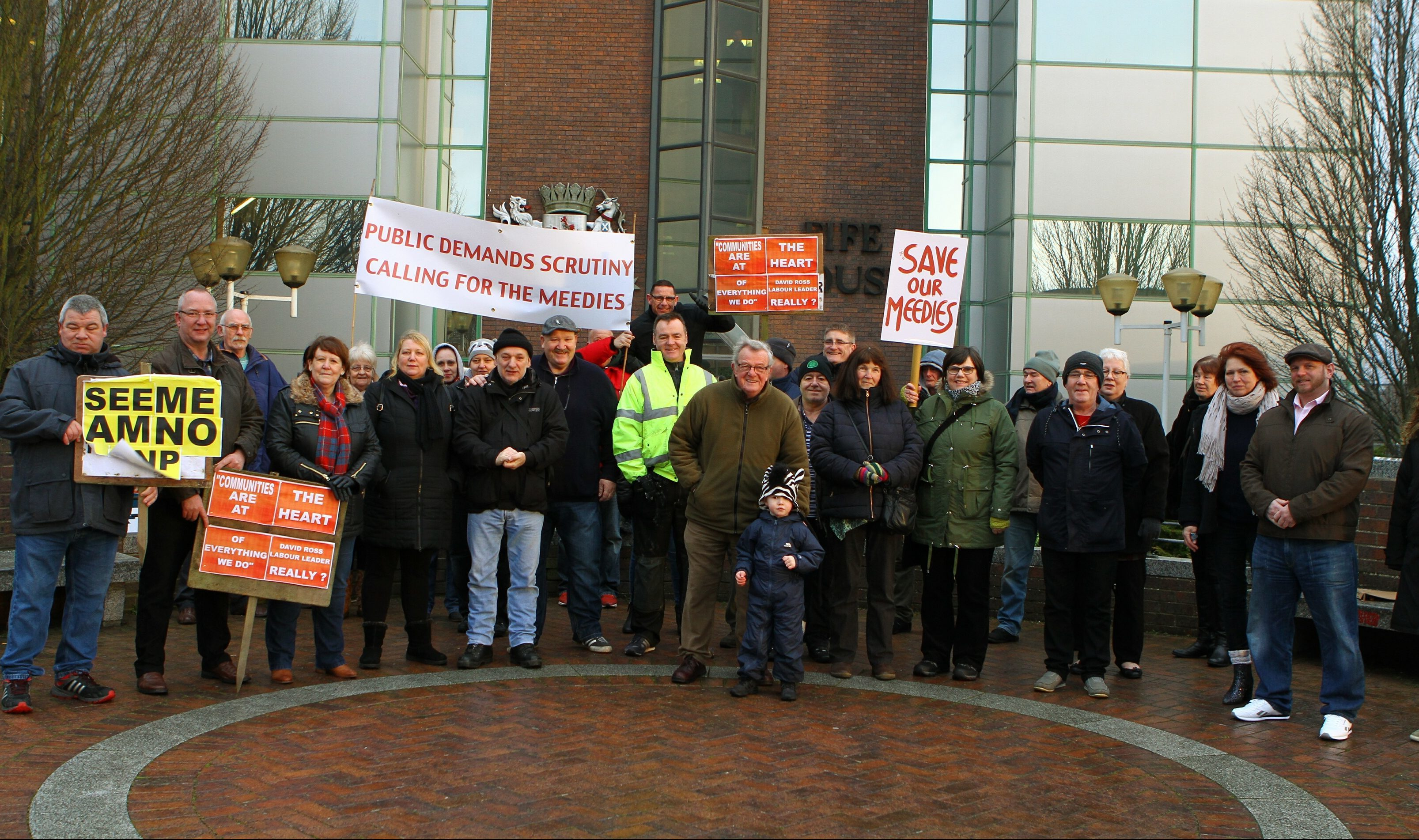 The group of Lochore Meadows protestors outside Fife House in Glenrothes, ahead of the Fife Council executive committee meeting.