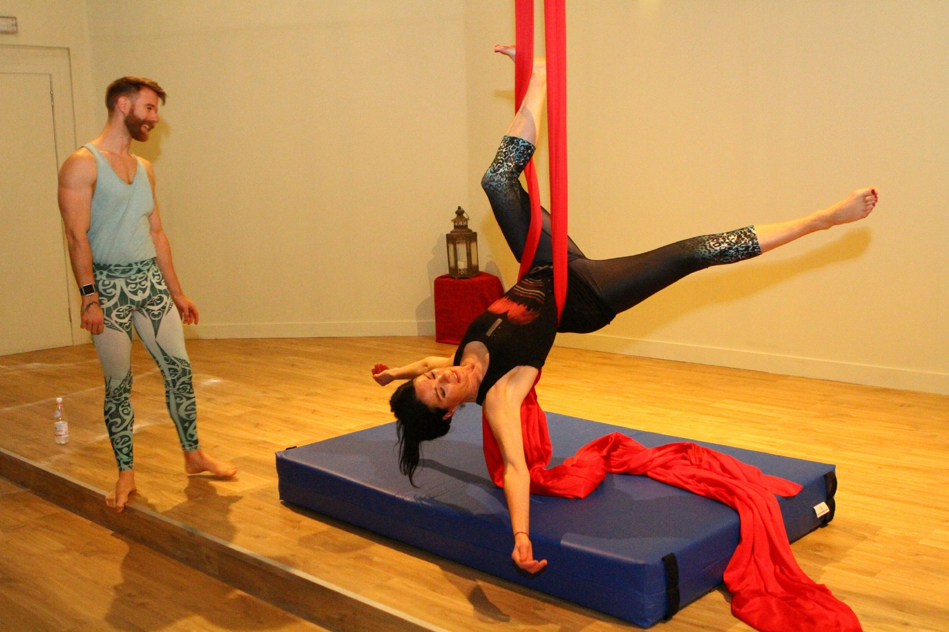 Finlay Wilson helps Gayle to get into aerial silks!