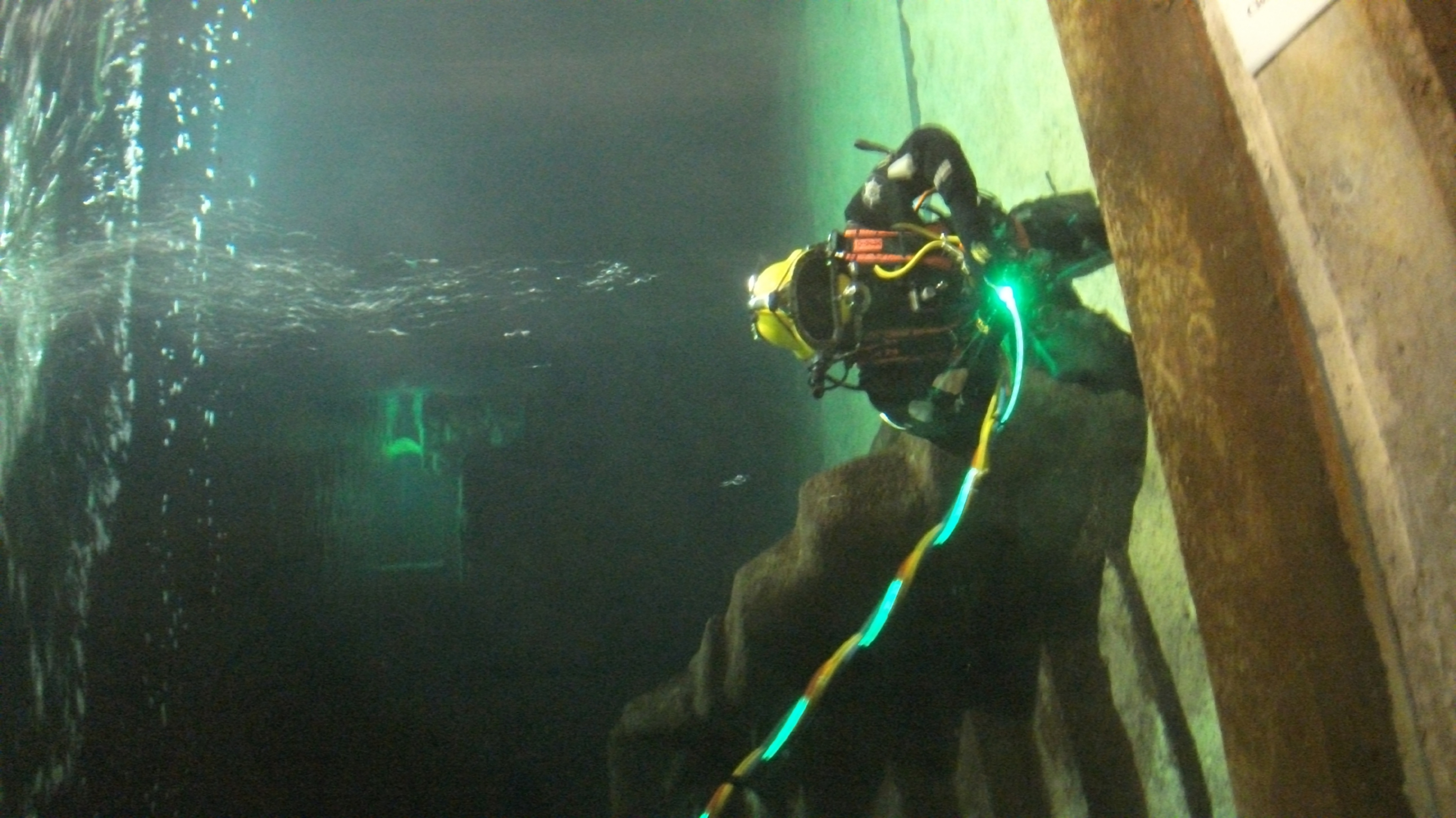 A diver using PhotoSynergy's light path