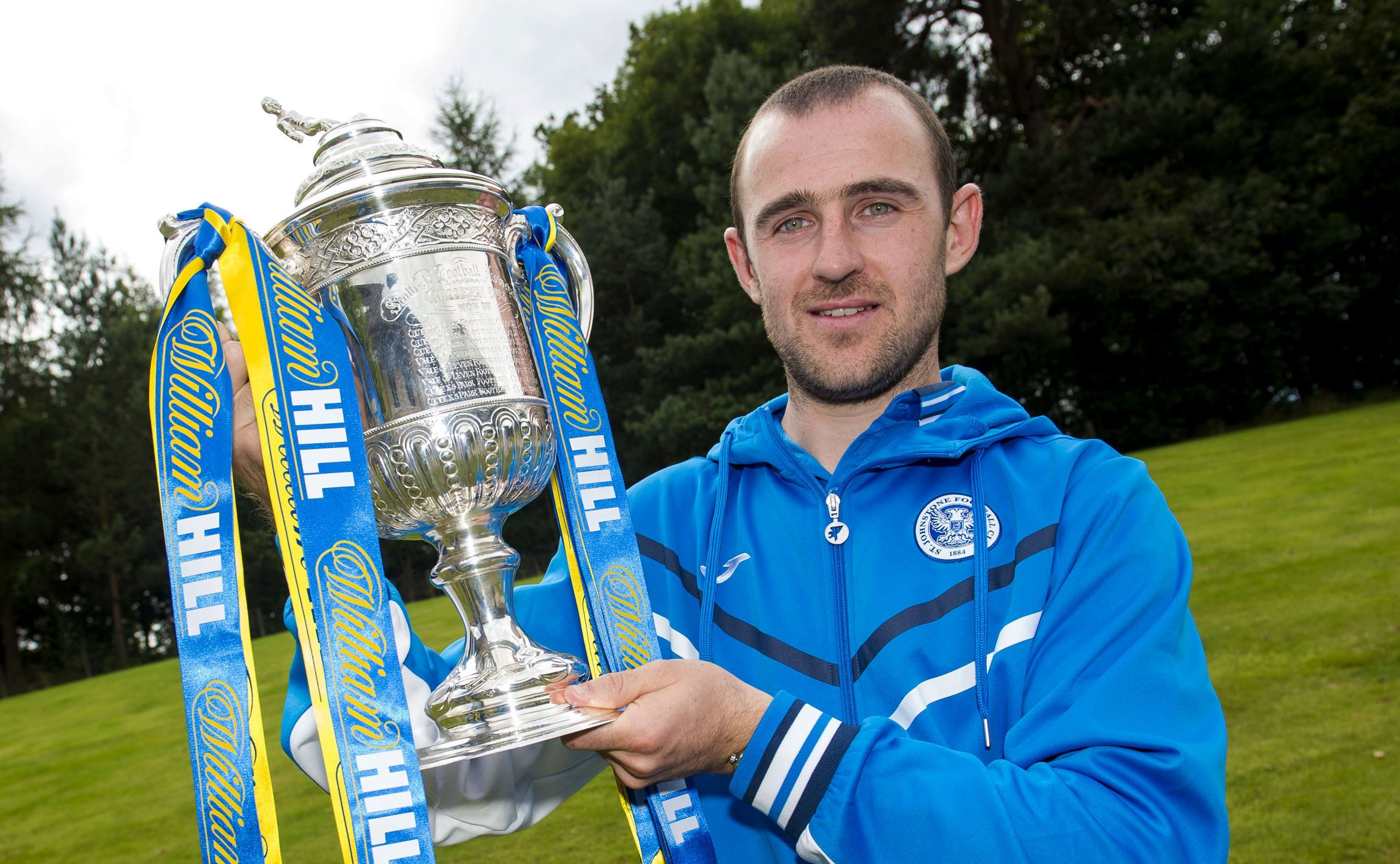Former St Johnstone captain Dave Mackay with the Scottish Cup.