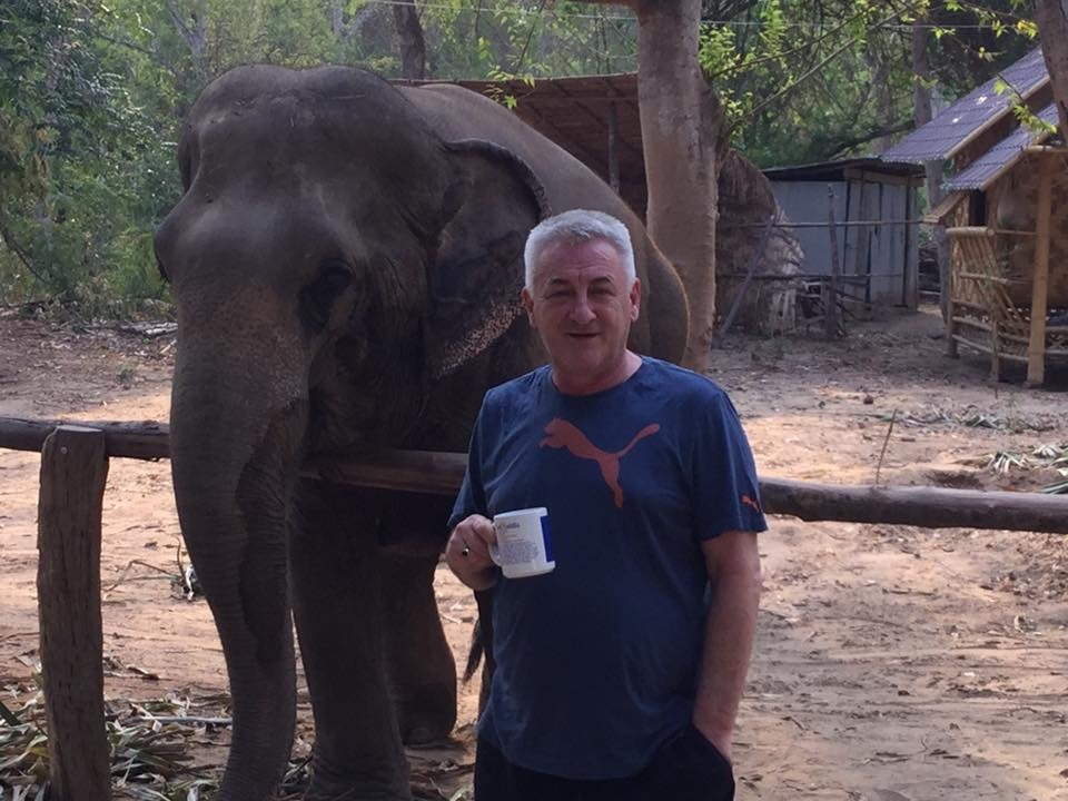 Ronnie at the elephant sanctuary.