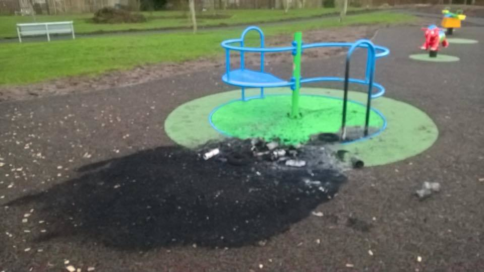The damage to the play equipment at the 'Powrie' park.