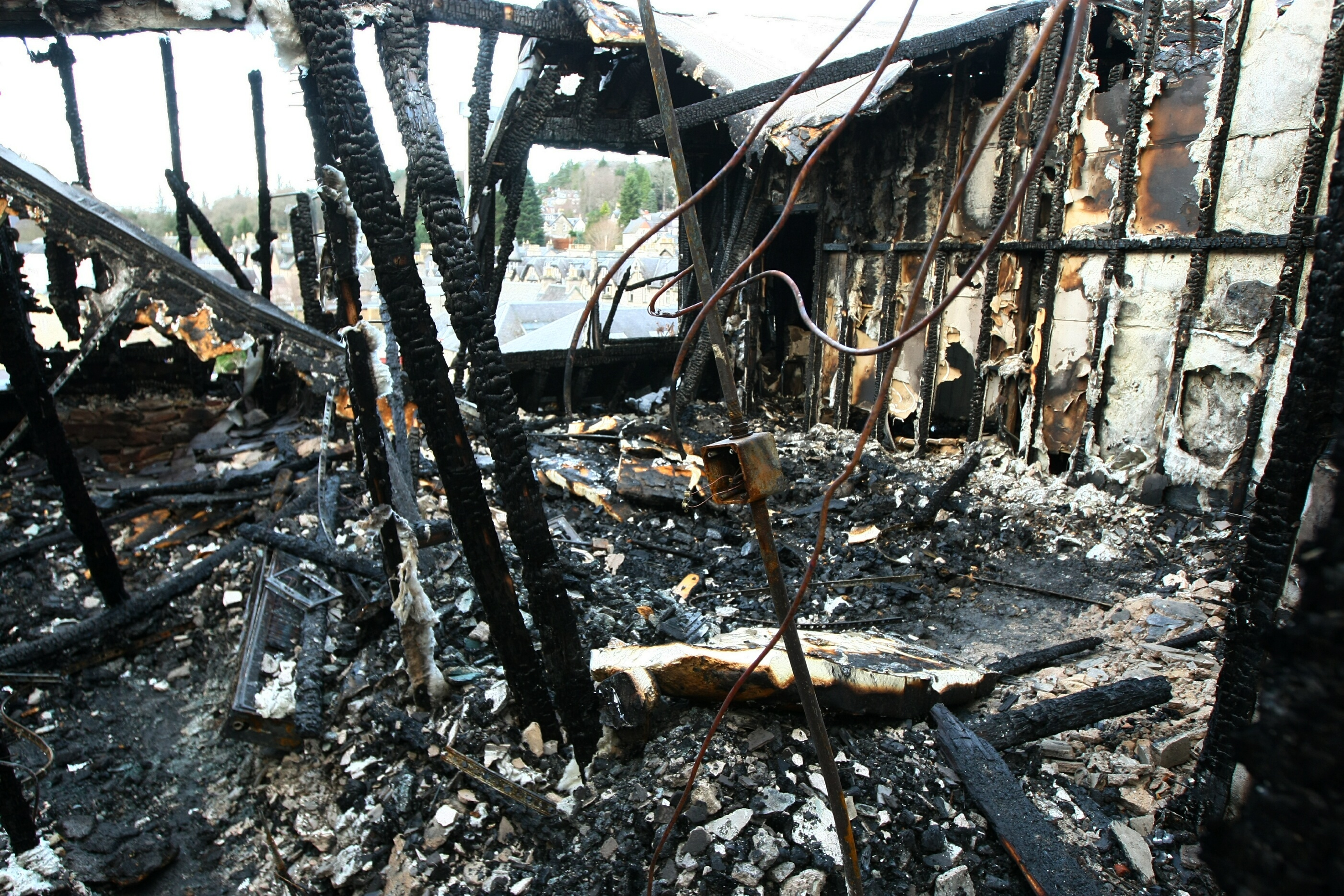 The aftermath of the Fishers Hotel fire which was started accidentally by a stray firework.