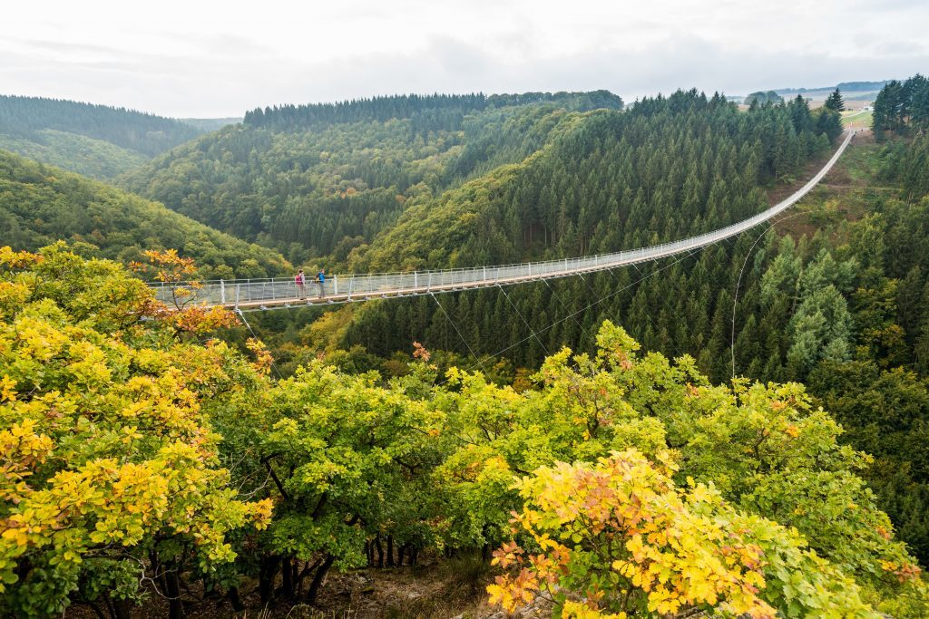 The Geierlay suspension bridge links some of the area's walking routes.