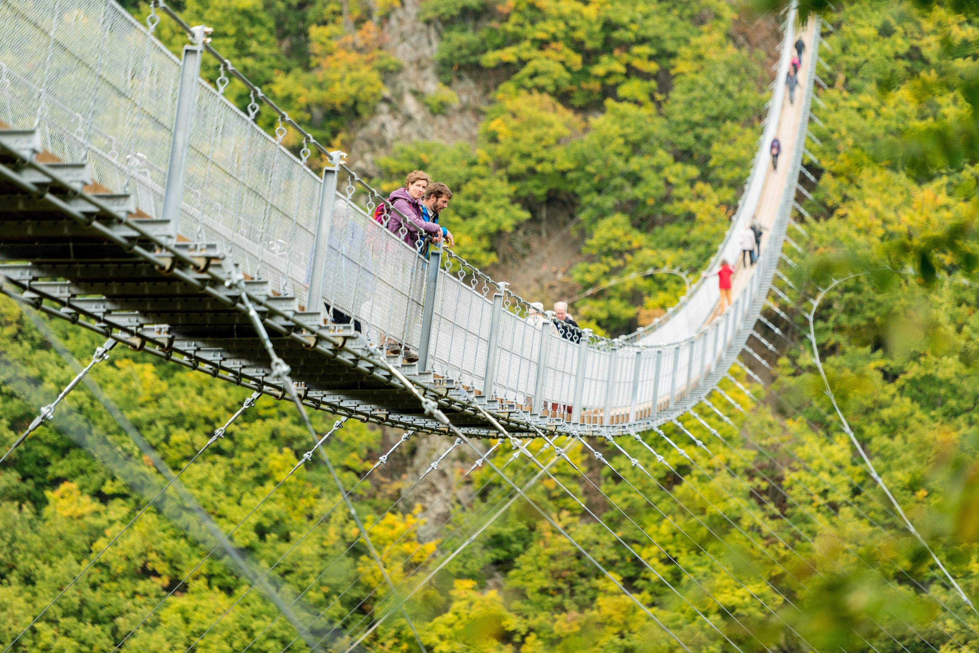 Afraid of heights? The spectacular Geierlay suspension bridge.
