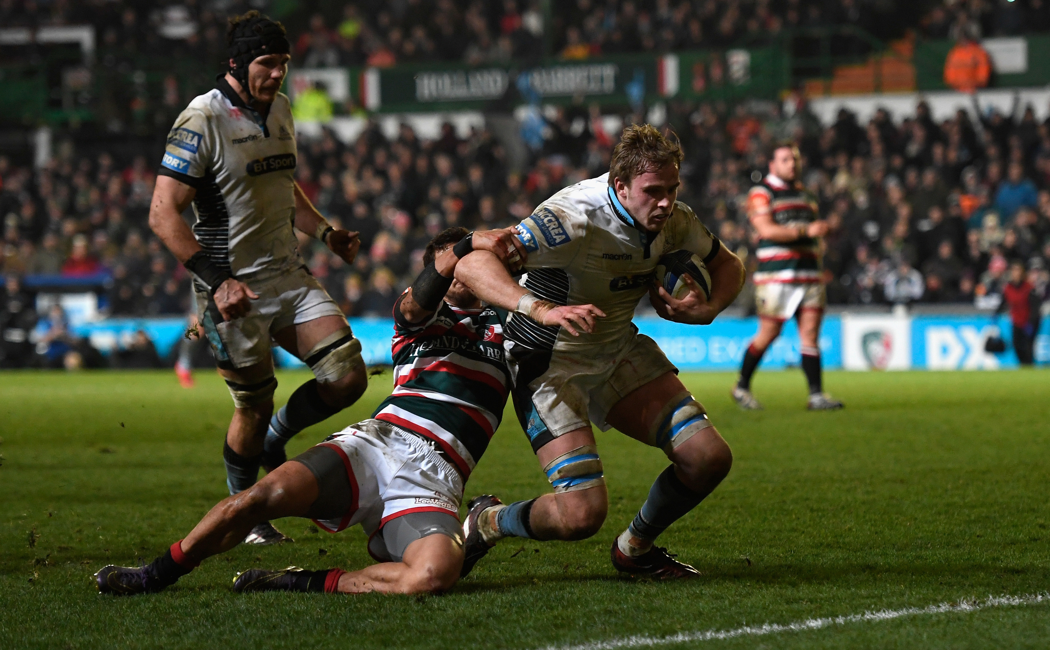 Captain Jonny Gray scores Glasgow's fourth try in their recent rout of Leicester.