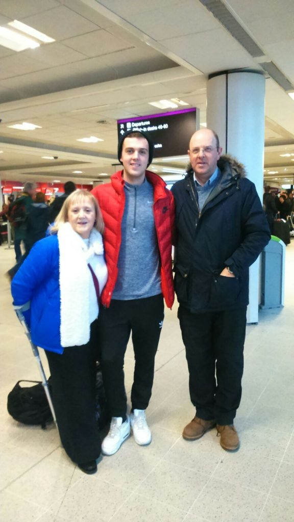 Calum with mum Ingrid and dad Keith before he left for America