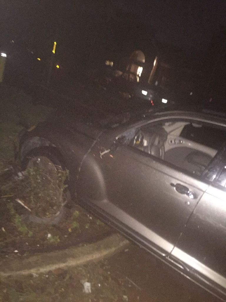Calum's car, in the aftermath of the tornado
