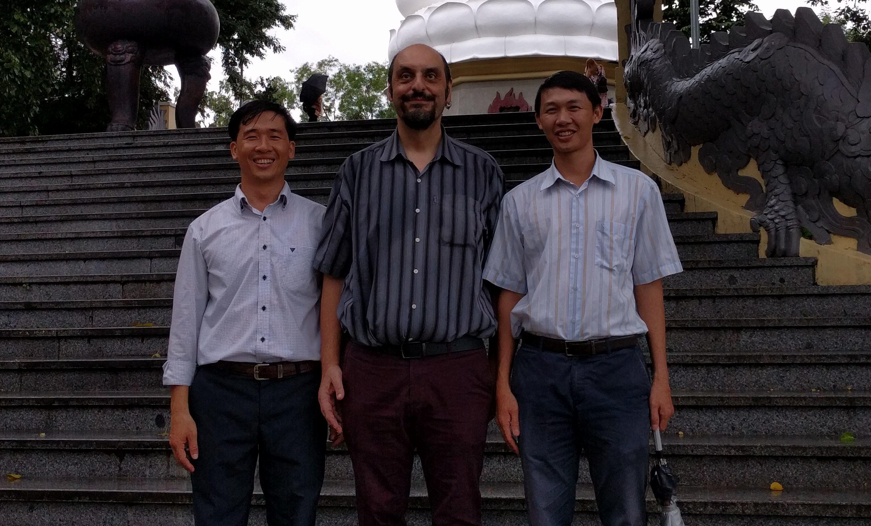Dr Huu Nghia Nguyen (Nha Trang), Professor Constantinos Stathopoulos (Abertay) and Dr Van Hoa Nguyen (Nha Trang).