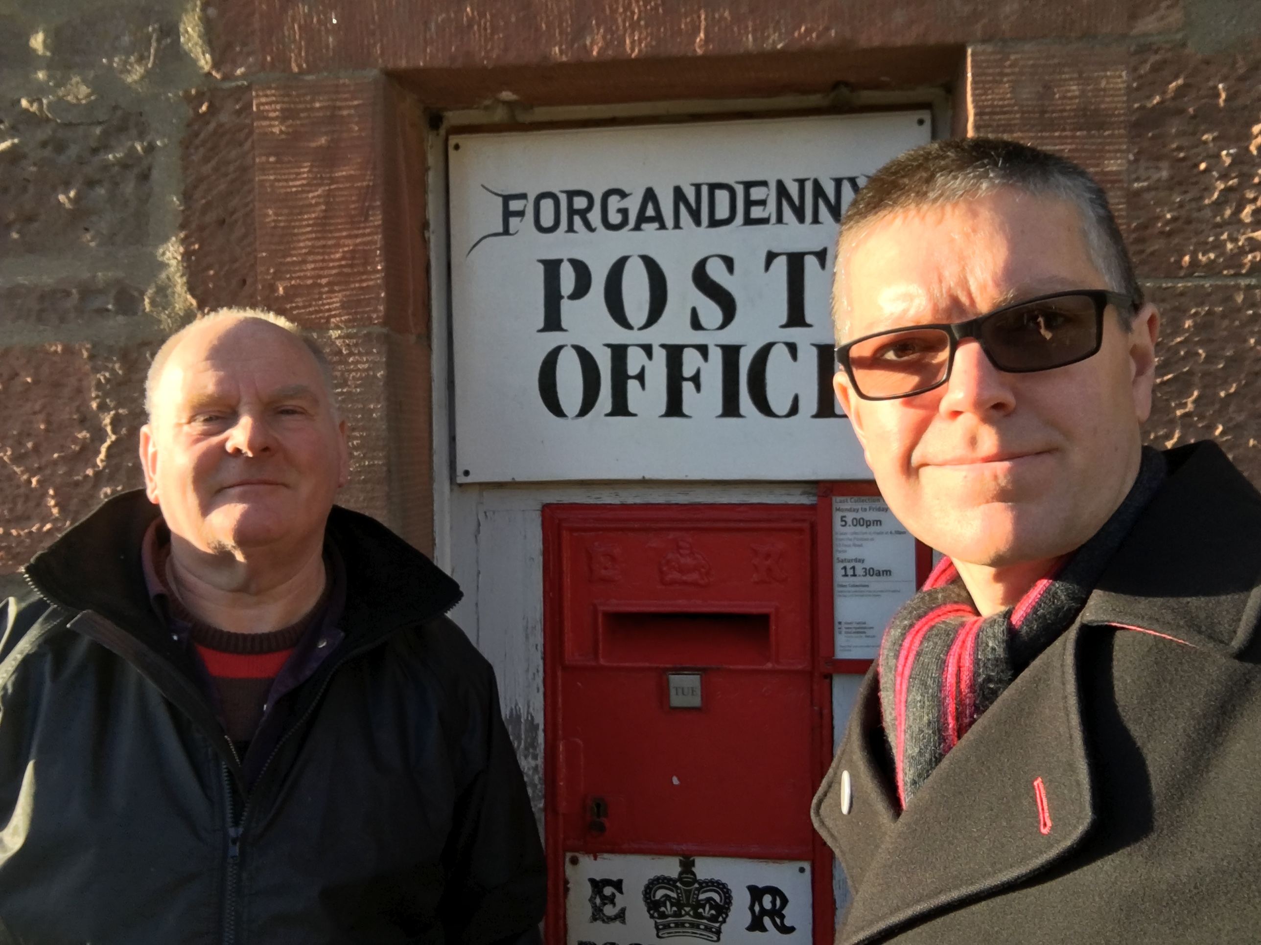 Forgandenny sub-postmaster Jim Johnston (left) with post box enthusiast David Chandler and the village's rare Edward VIII Ludlow box.