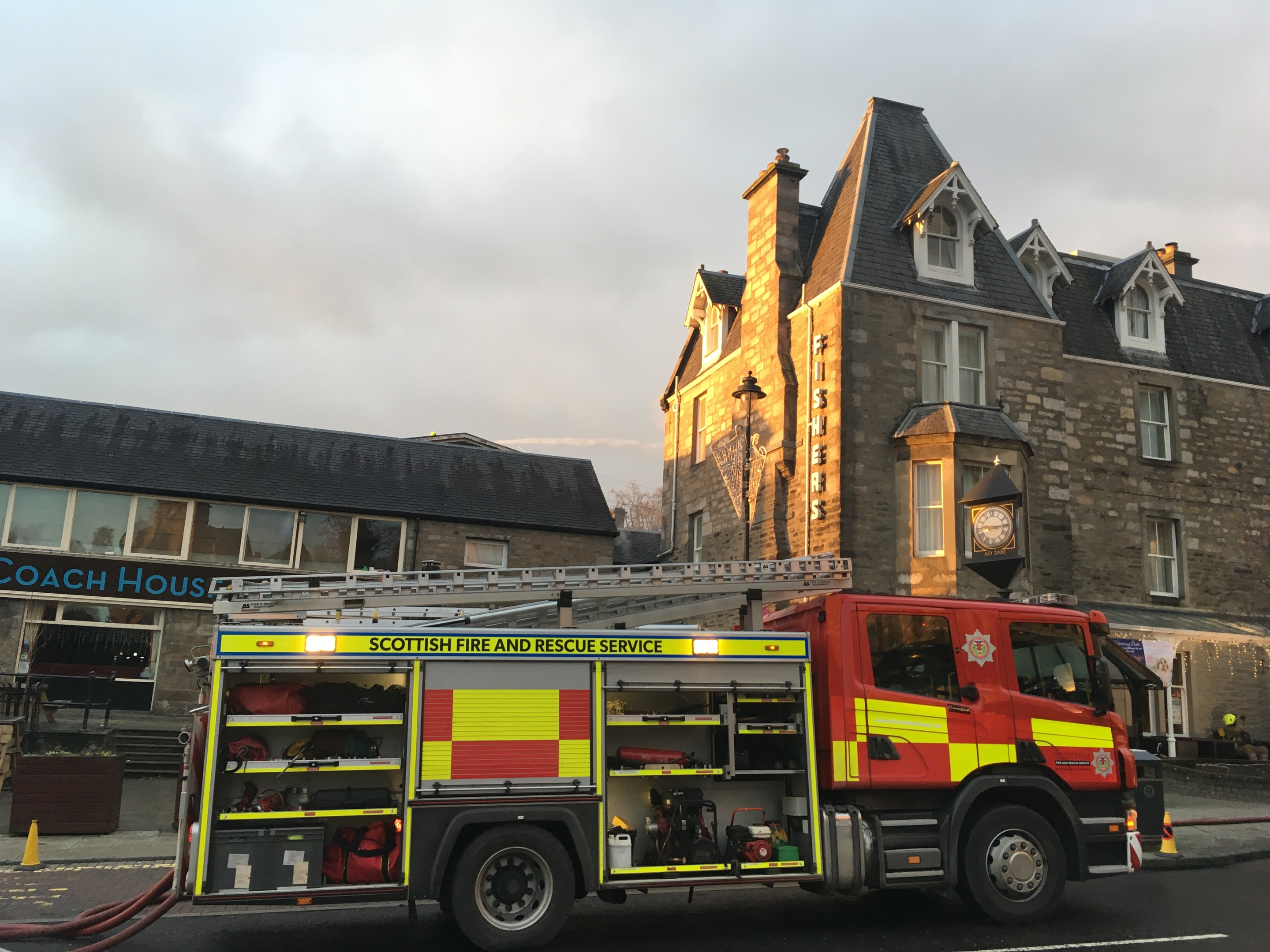Emergency crews at the Fishers Hotel, Pitlochry.
