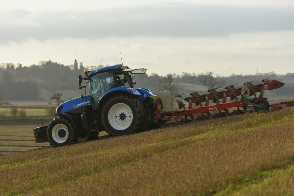 Ploughing in action.