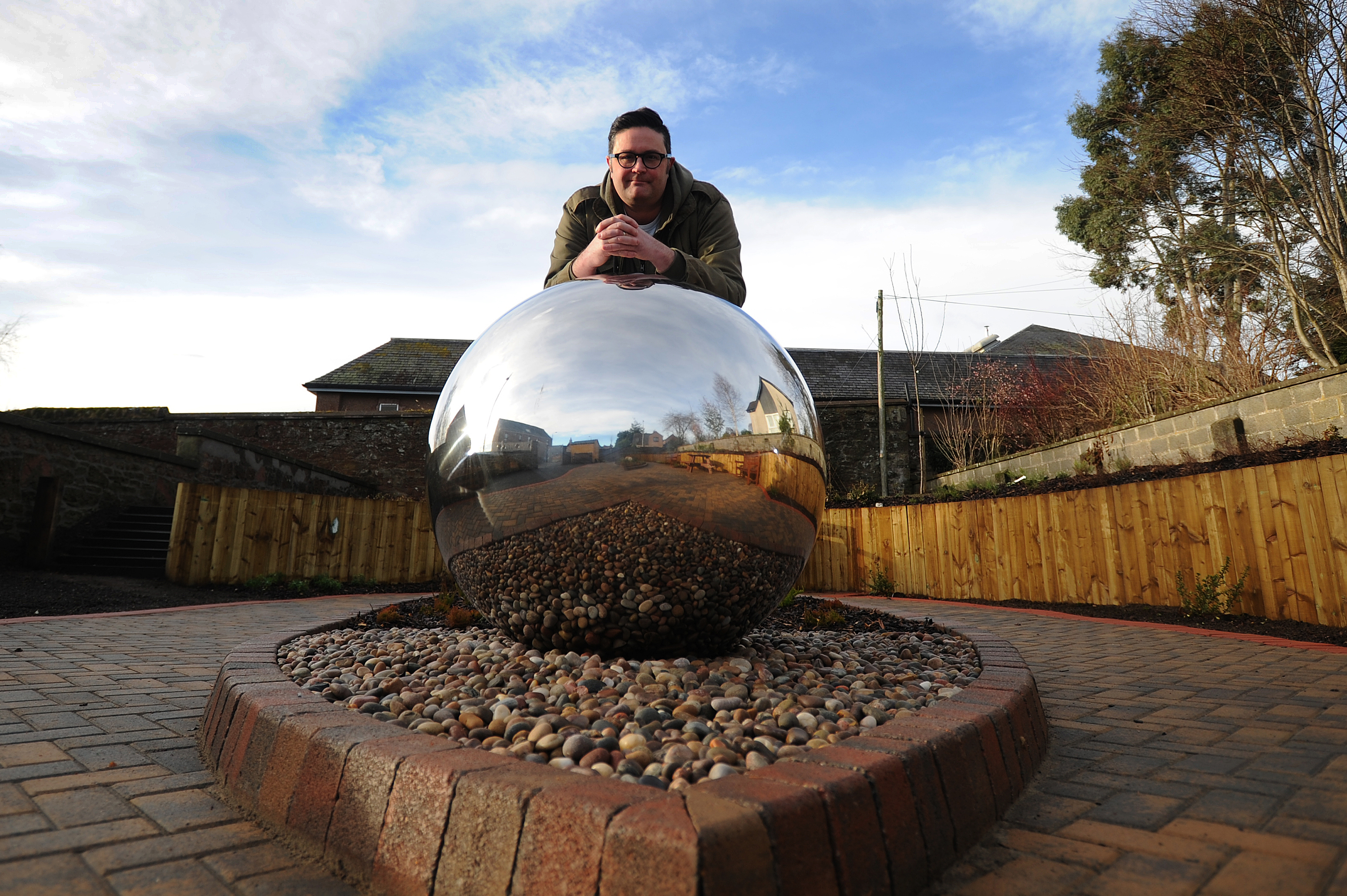Graham Galloway in the Kirrie Connections dementia garden. opened last year