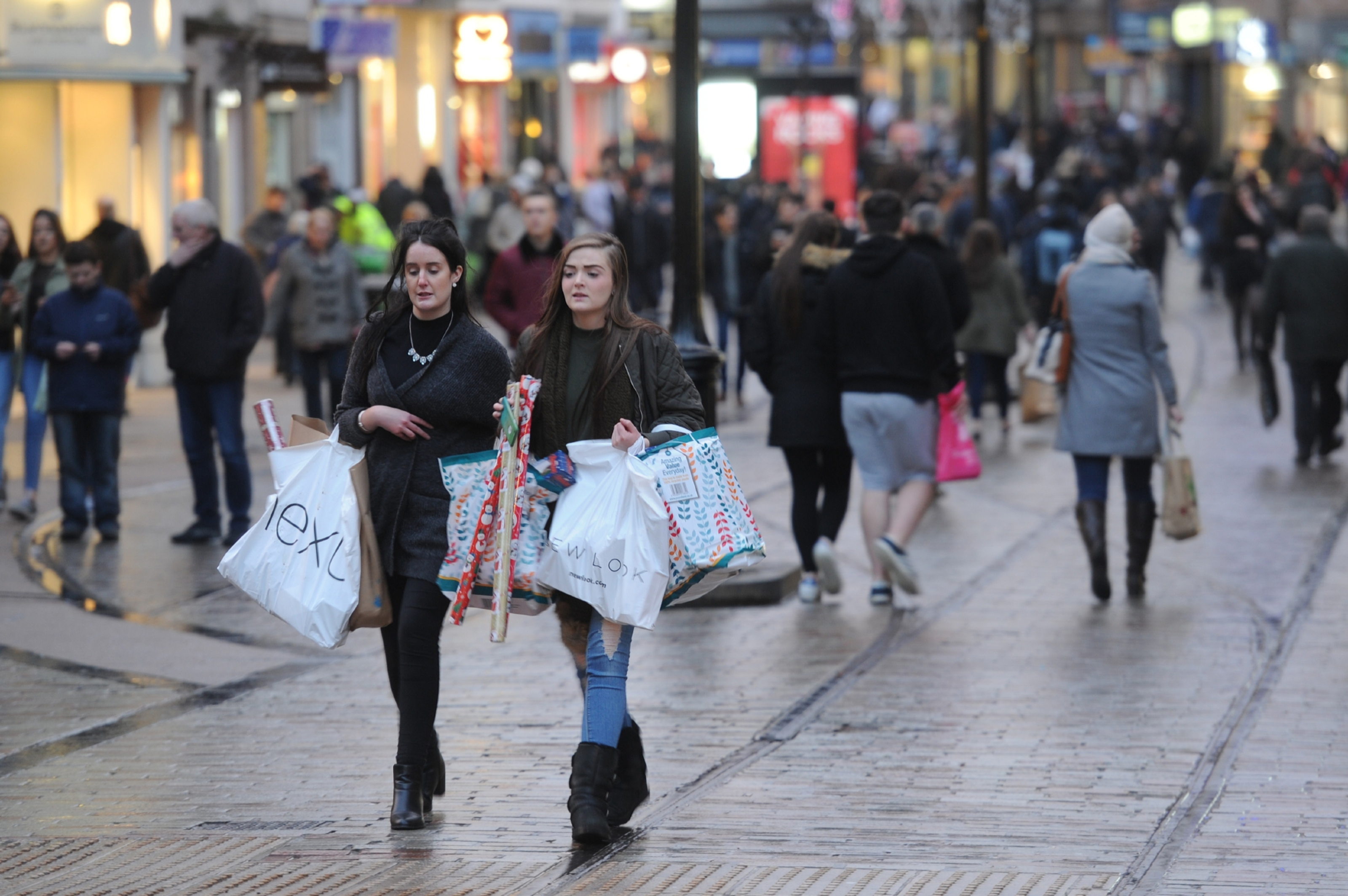 Christmas shopping, seen here in Dundee, boosted Scottish retail sales in December.