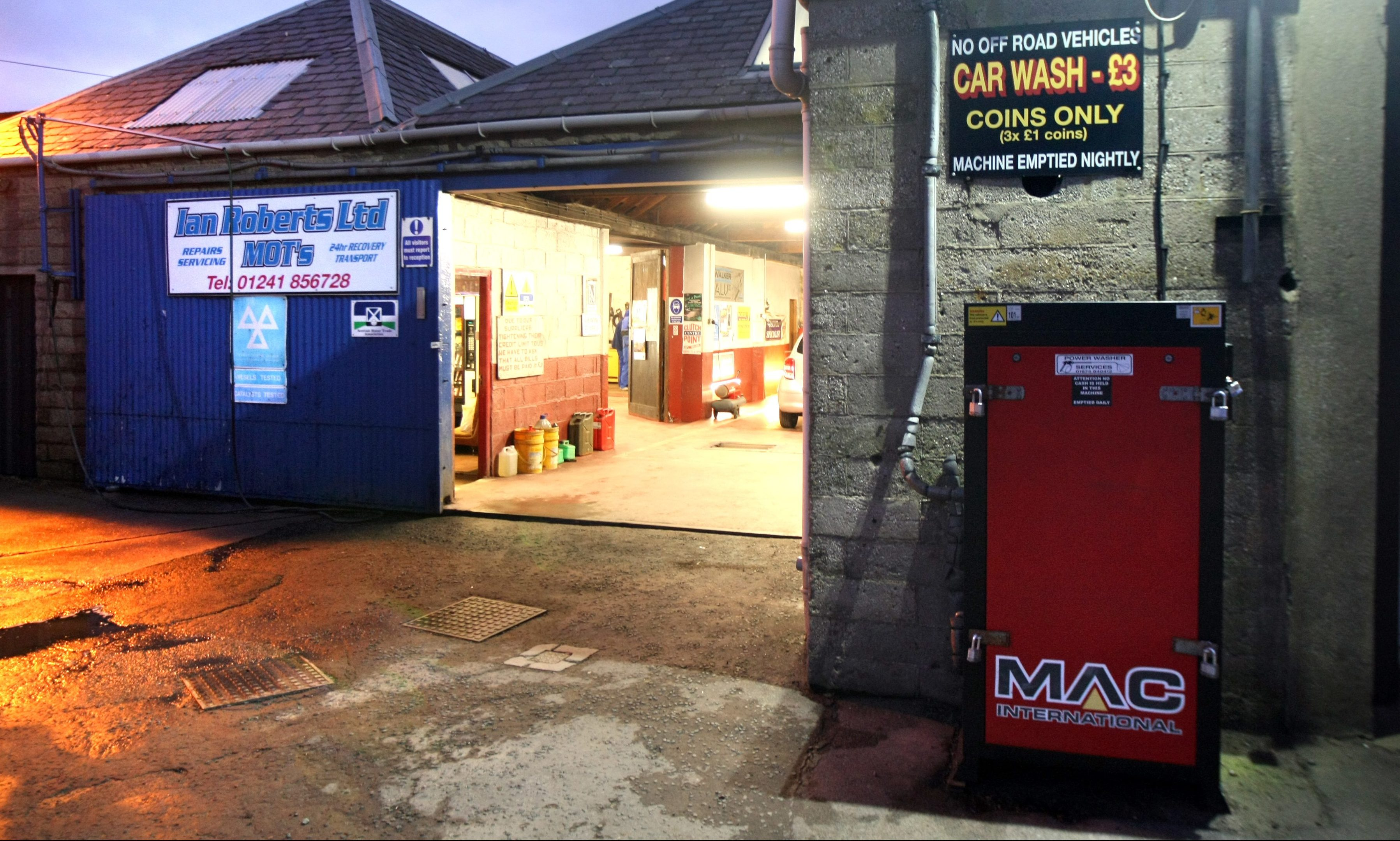The Ian Roberts garage in Carnoustie.