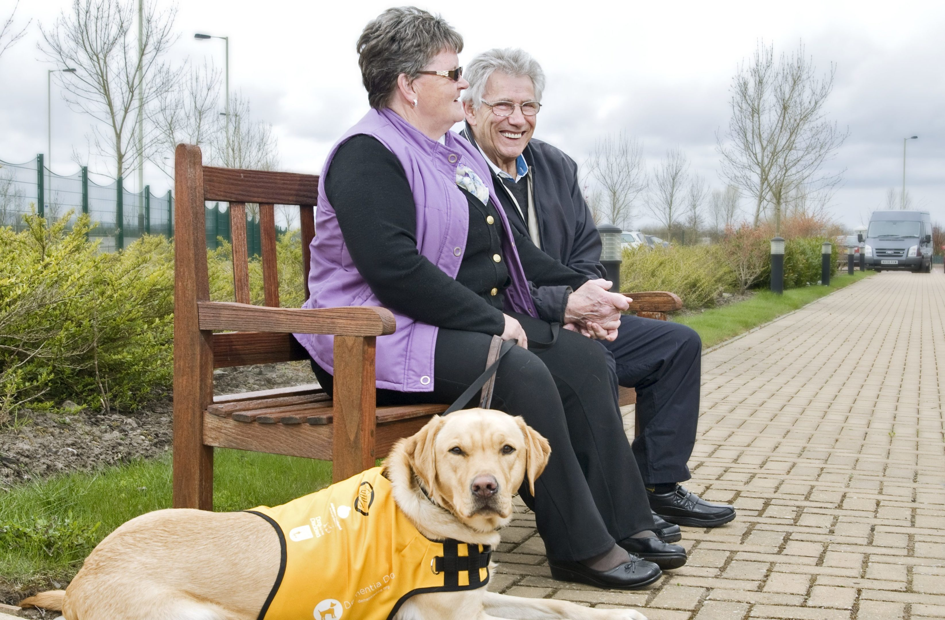 Ken and Glenys with their assistance dog Kaspa.