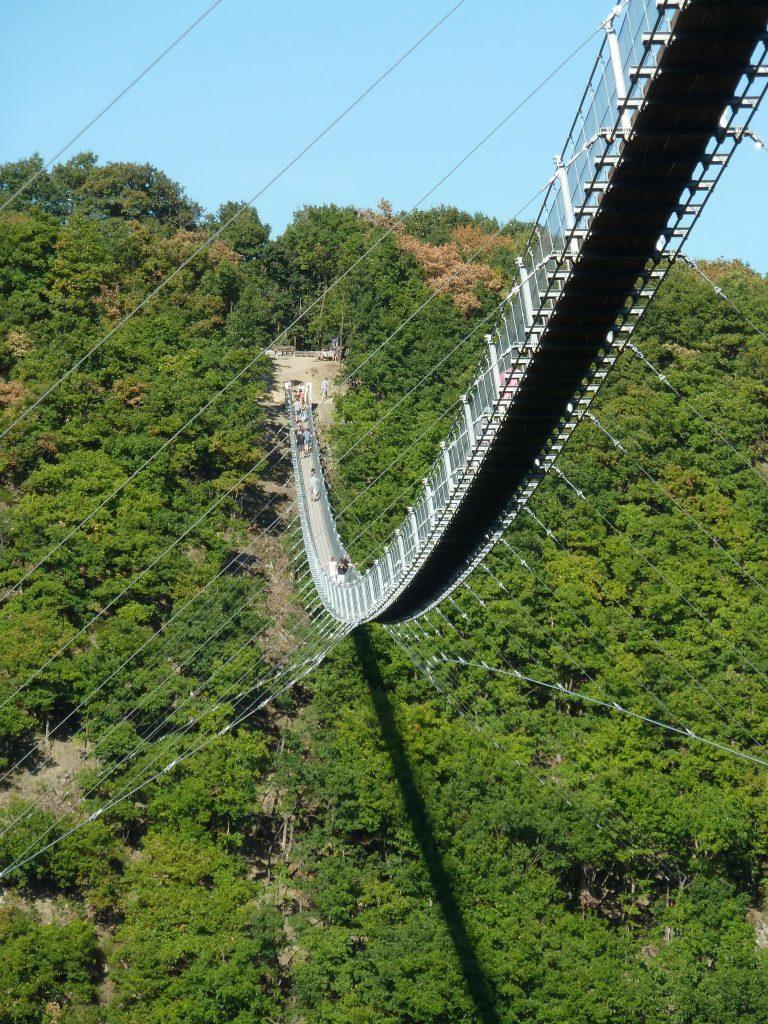 The Geierlay suspension bridge viewed from below.
