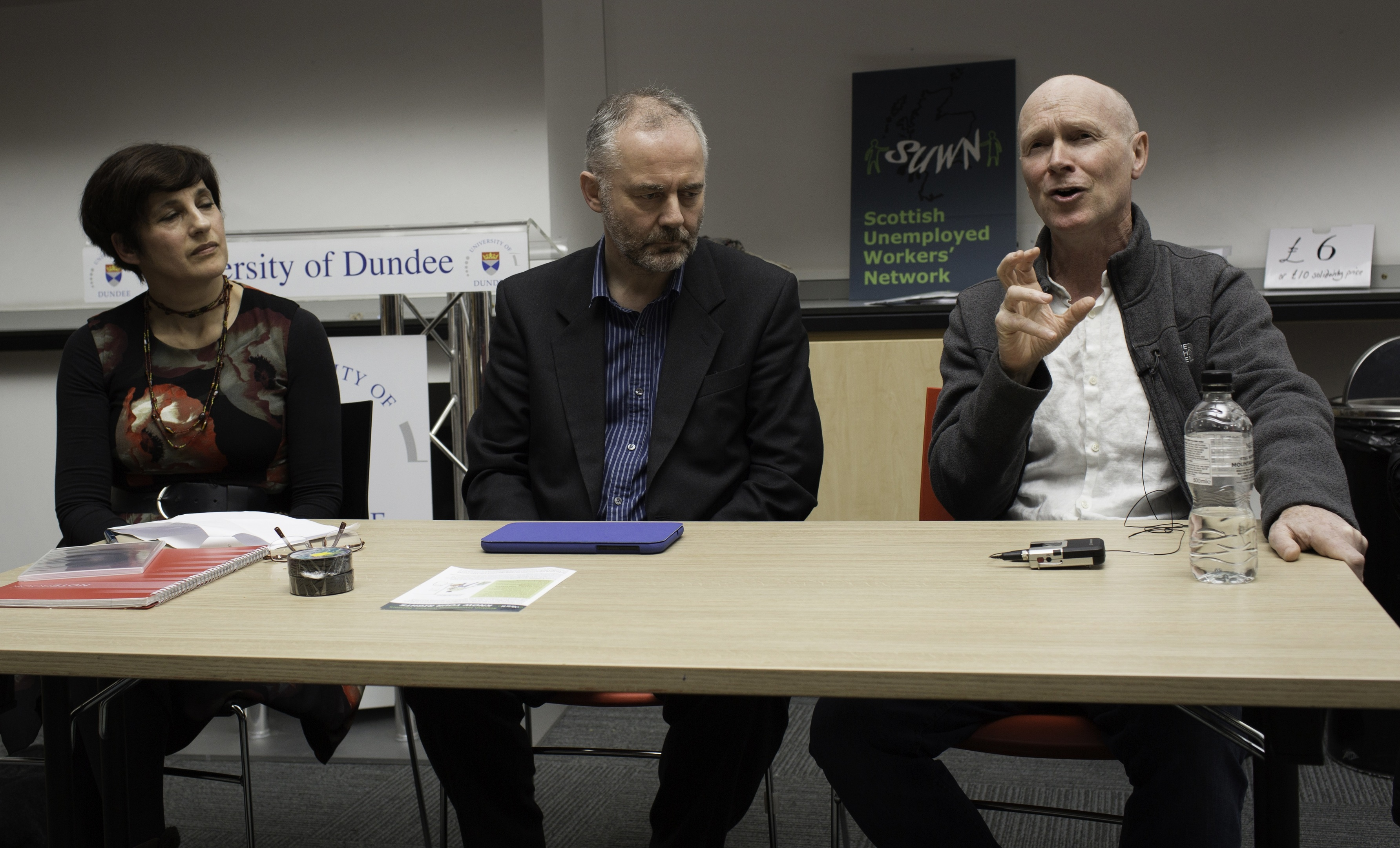 From left to right: Sarah Glynn with Jimmy Black and Paul Laverty at the film screening and discussion.