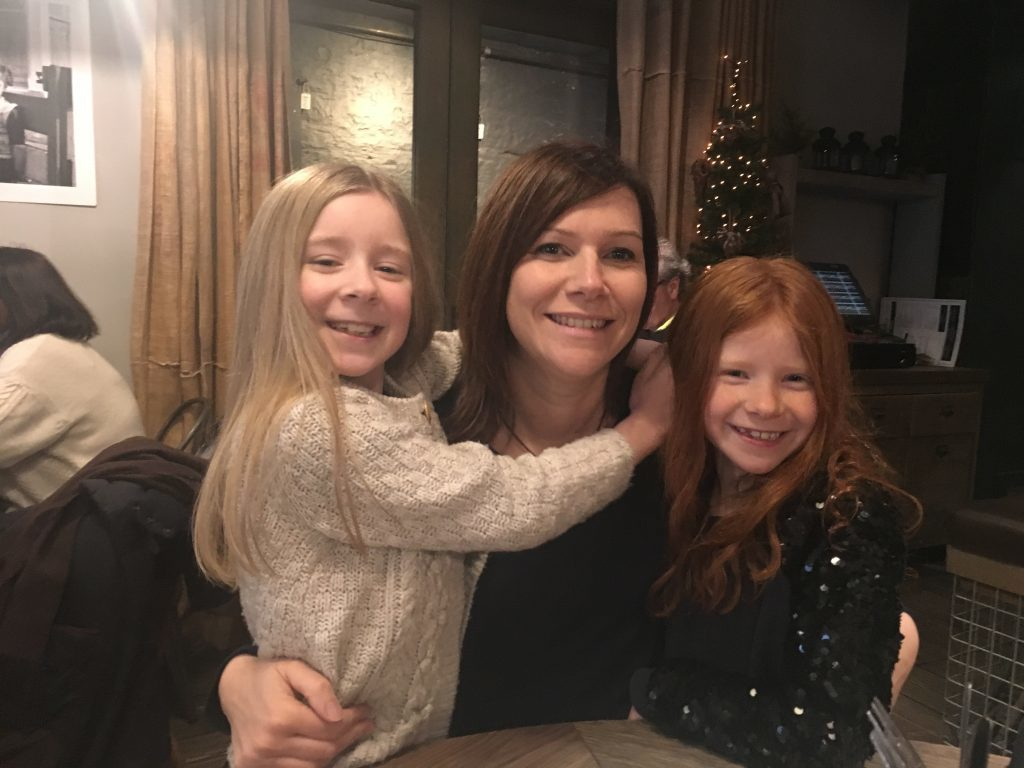 Pippa Gardner with her daughters Lucy and Evie