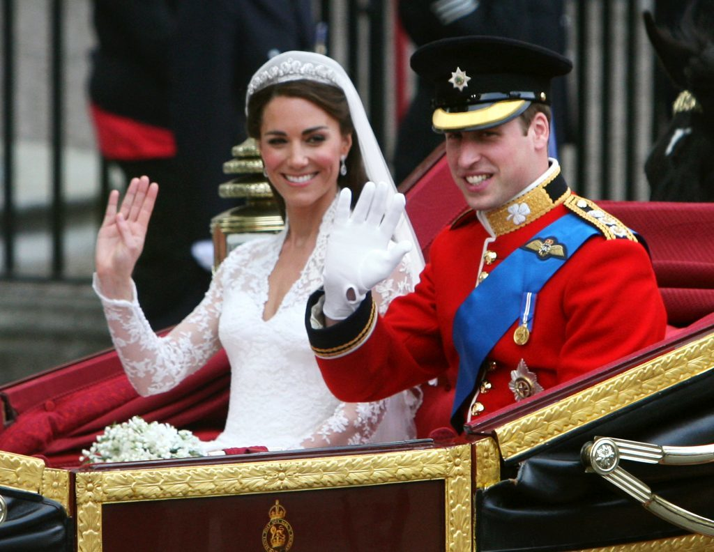Prince William and his bride Kate leave Westminster Abbey in London as man and wife after their wedding.