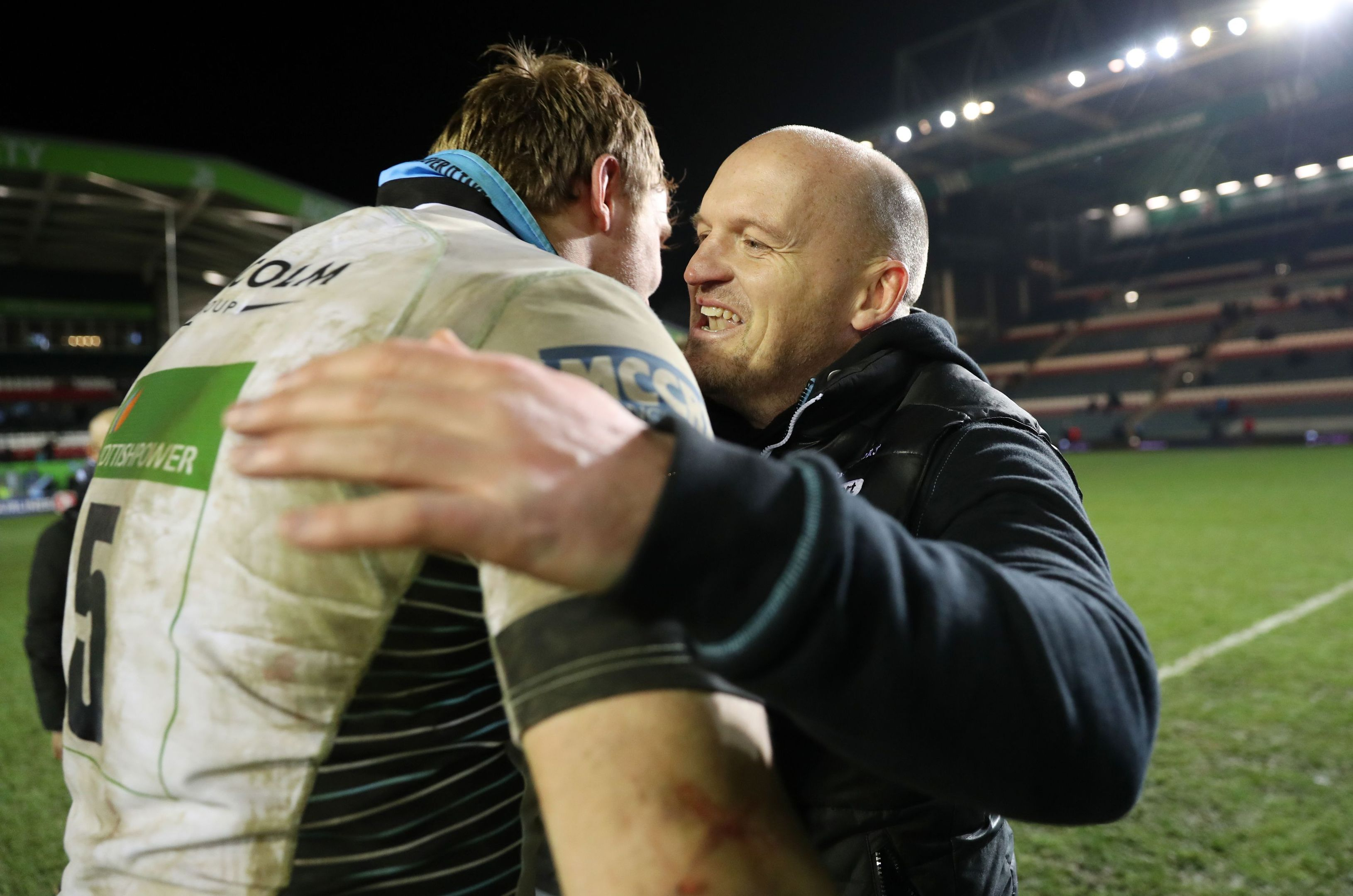 Gregor Townsend congratulates skipper Jonny Gray after Glasgow's 43-0 win at Leicester on Saturday.