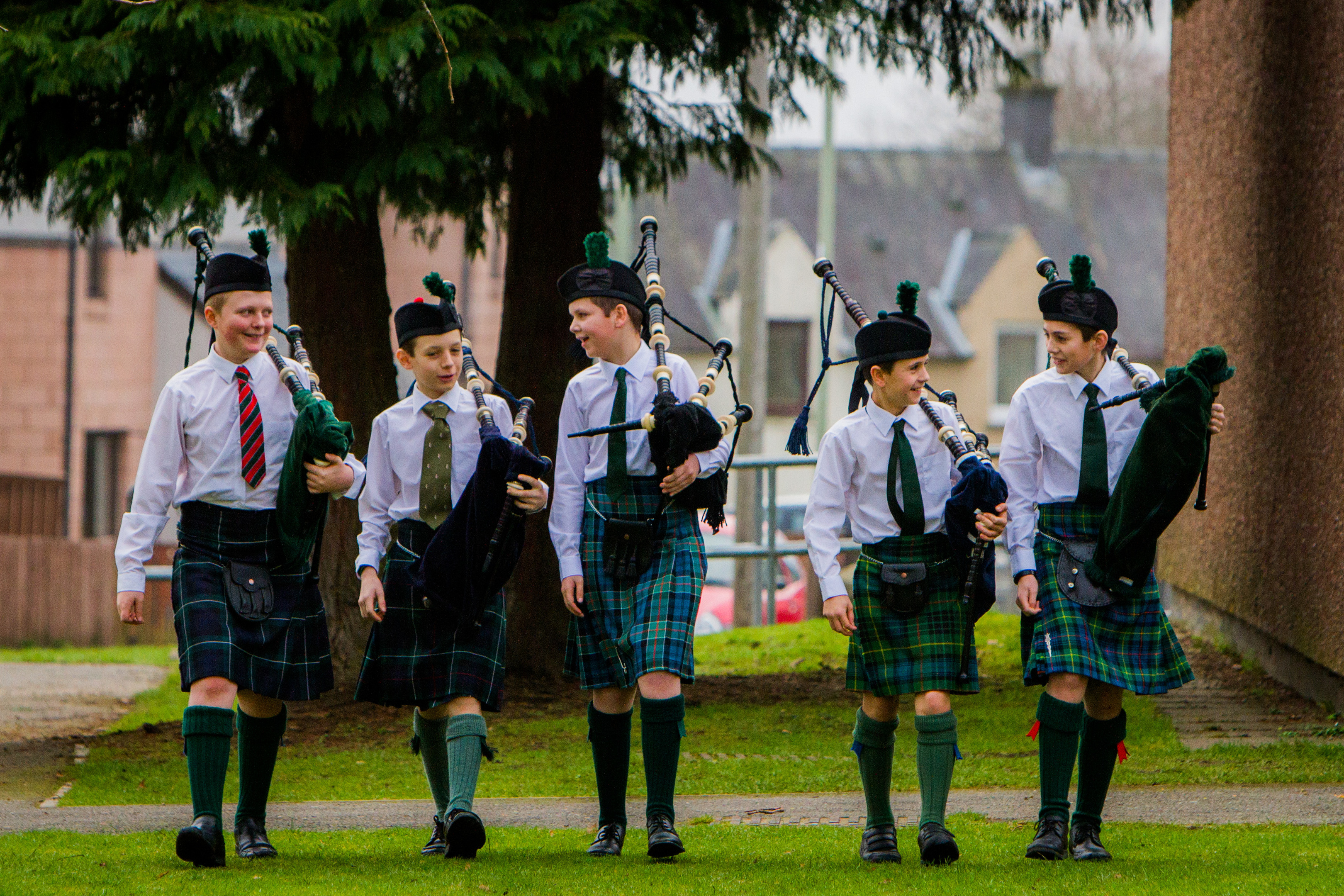 Members of Ardvreck School Pipe Band that attended the event. Left to right are Hamish Landale, Harris Pagett, Roddy Kilpatrick, Cosmo Garrett-Cox and Will Farquharson.