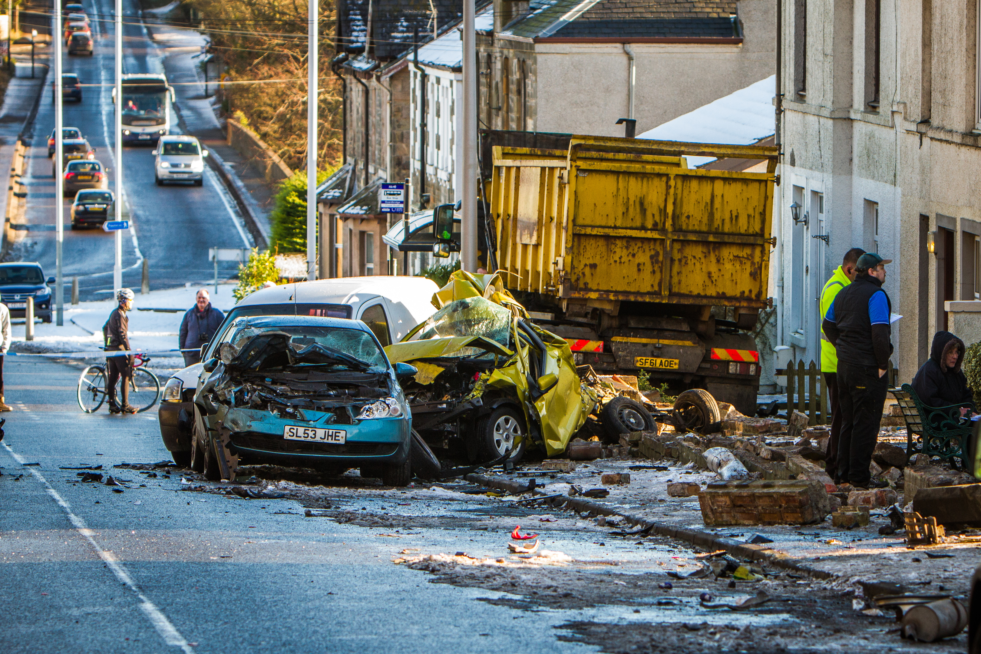 The devastating scene on Cupar Road, Guardbridge