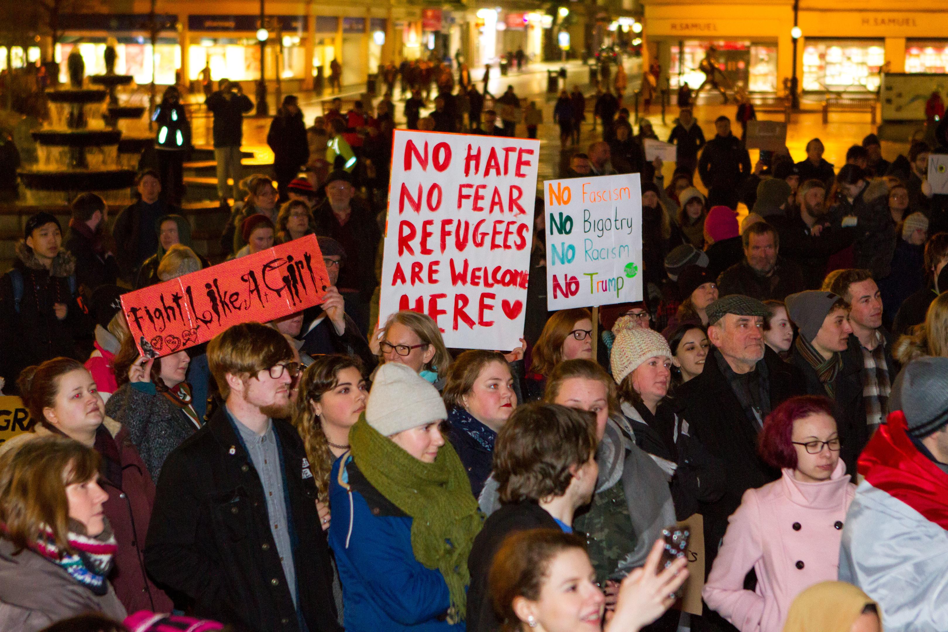 Protesters in City Square.