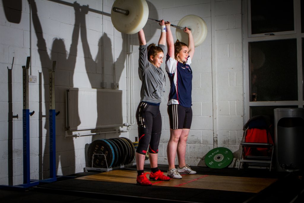Holly (aged 14, right) and Rowan (aged 16, left) during training.