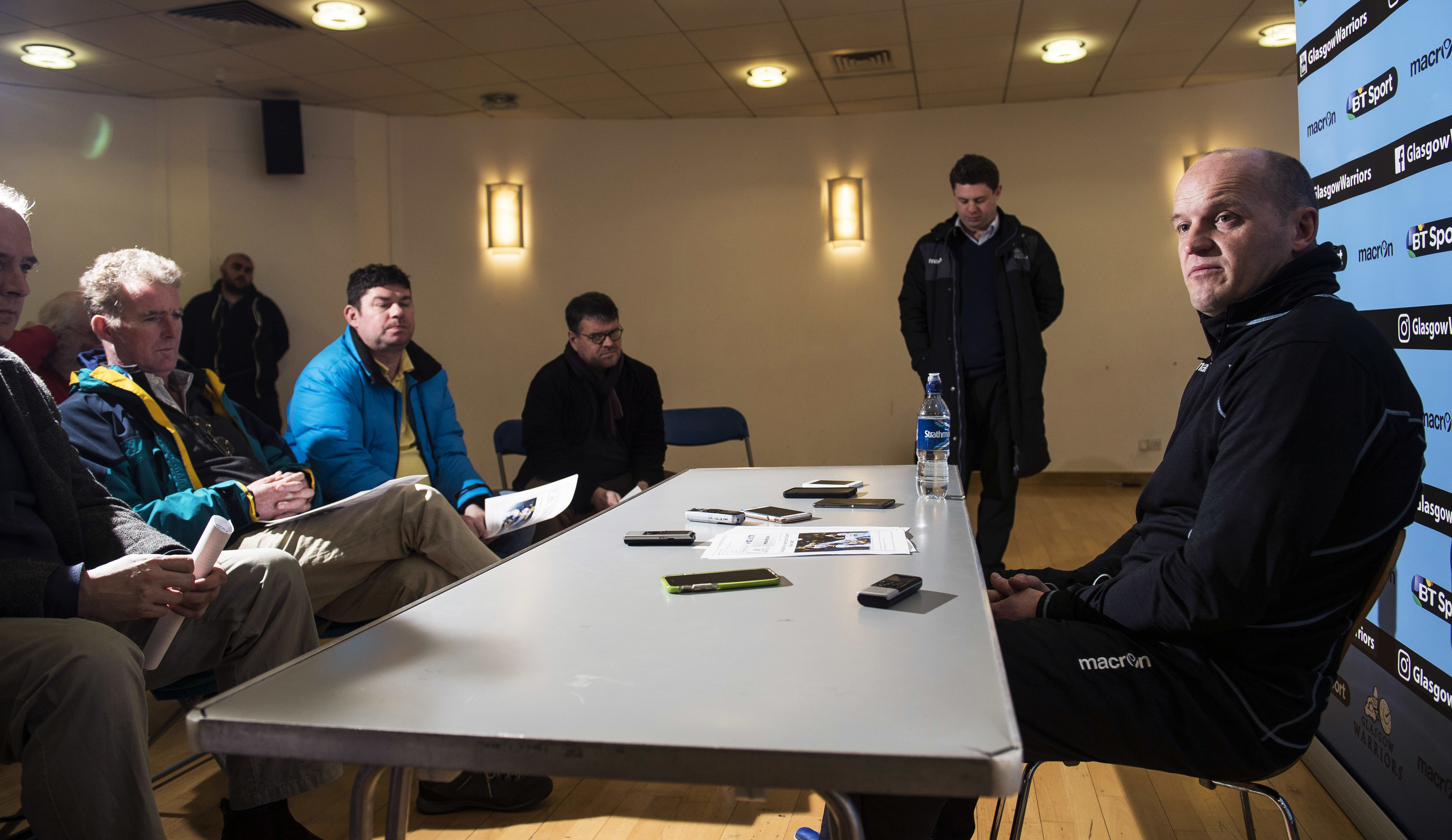 Gregor Townsend speaking with rugby writers at his press conference at Scotstoun.