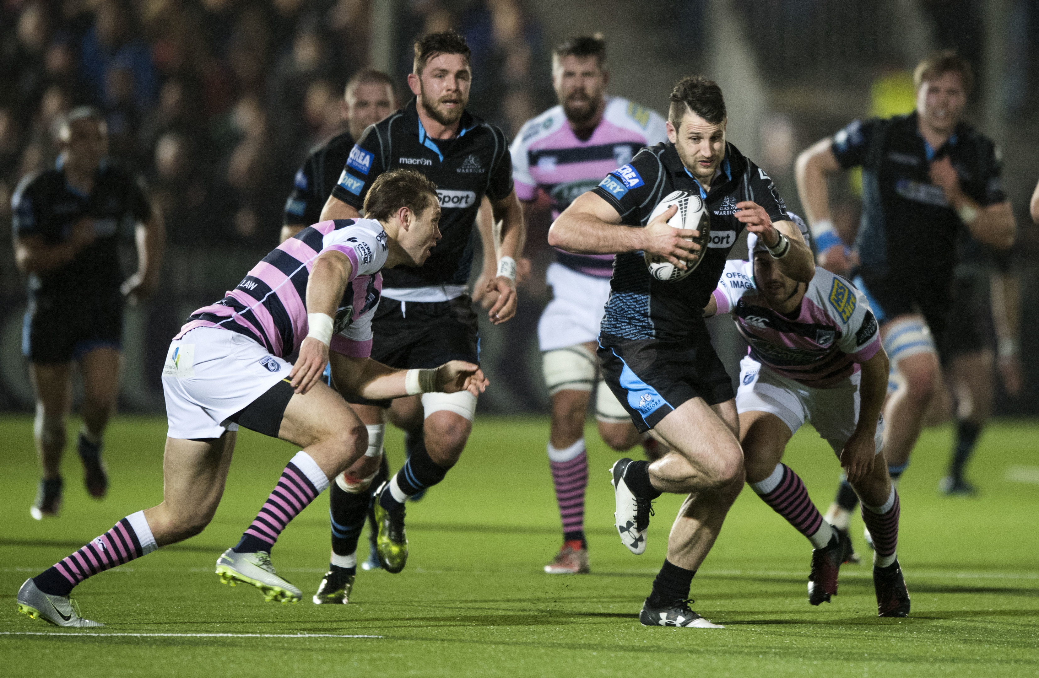Tommy Seymour set up two tries from team-mate Peter Murchie is Glasgow's 29-15 win over Cardiff Blues.
