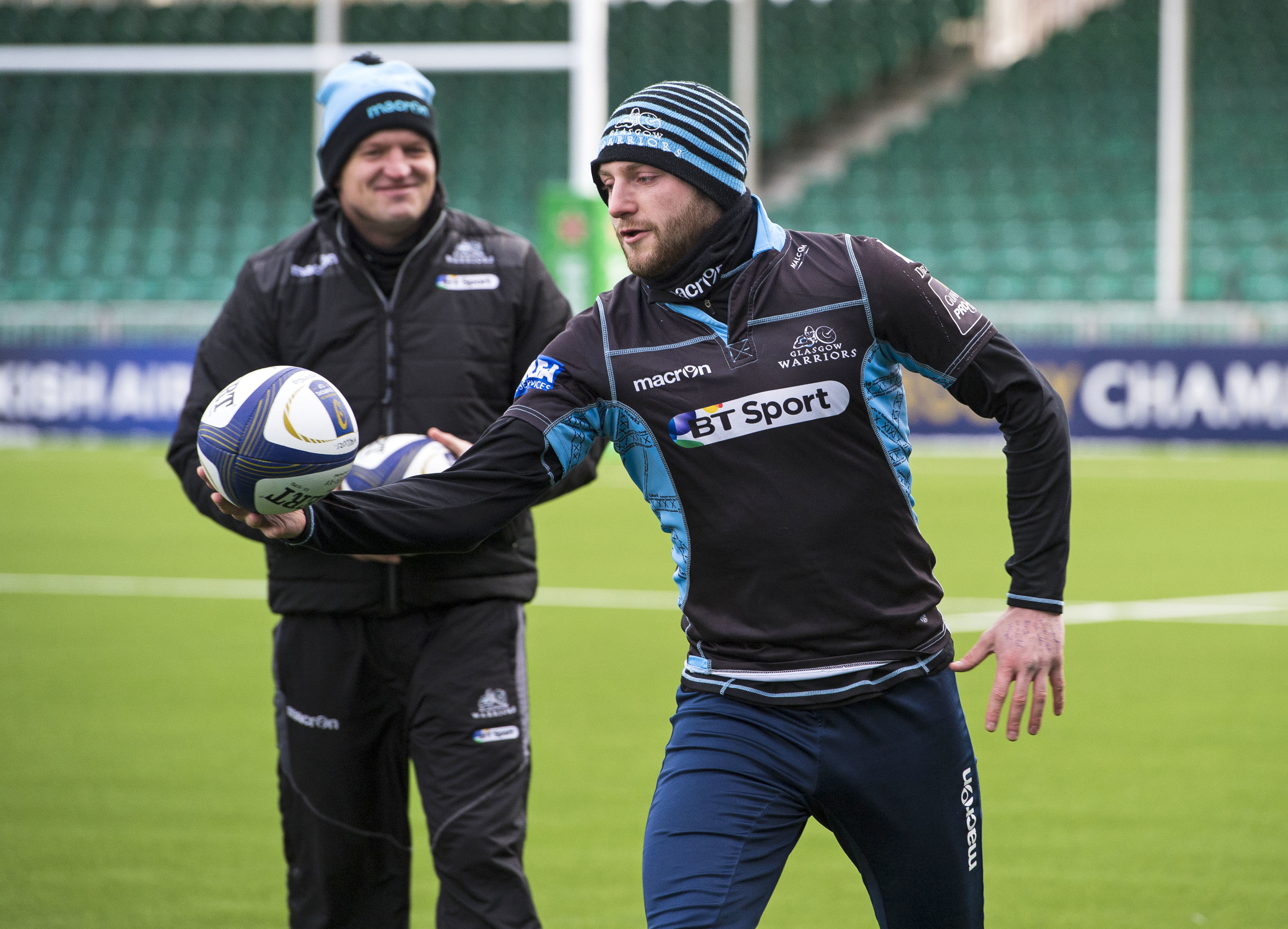 Head coach Gregor Townsend and protege Finn Russell during yesterday's final team run at Scotstoun.