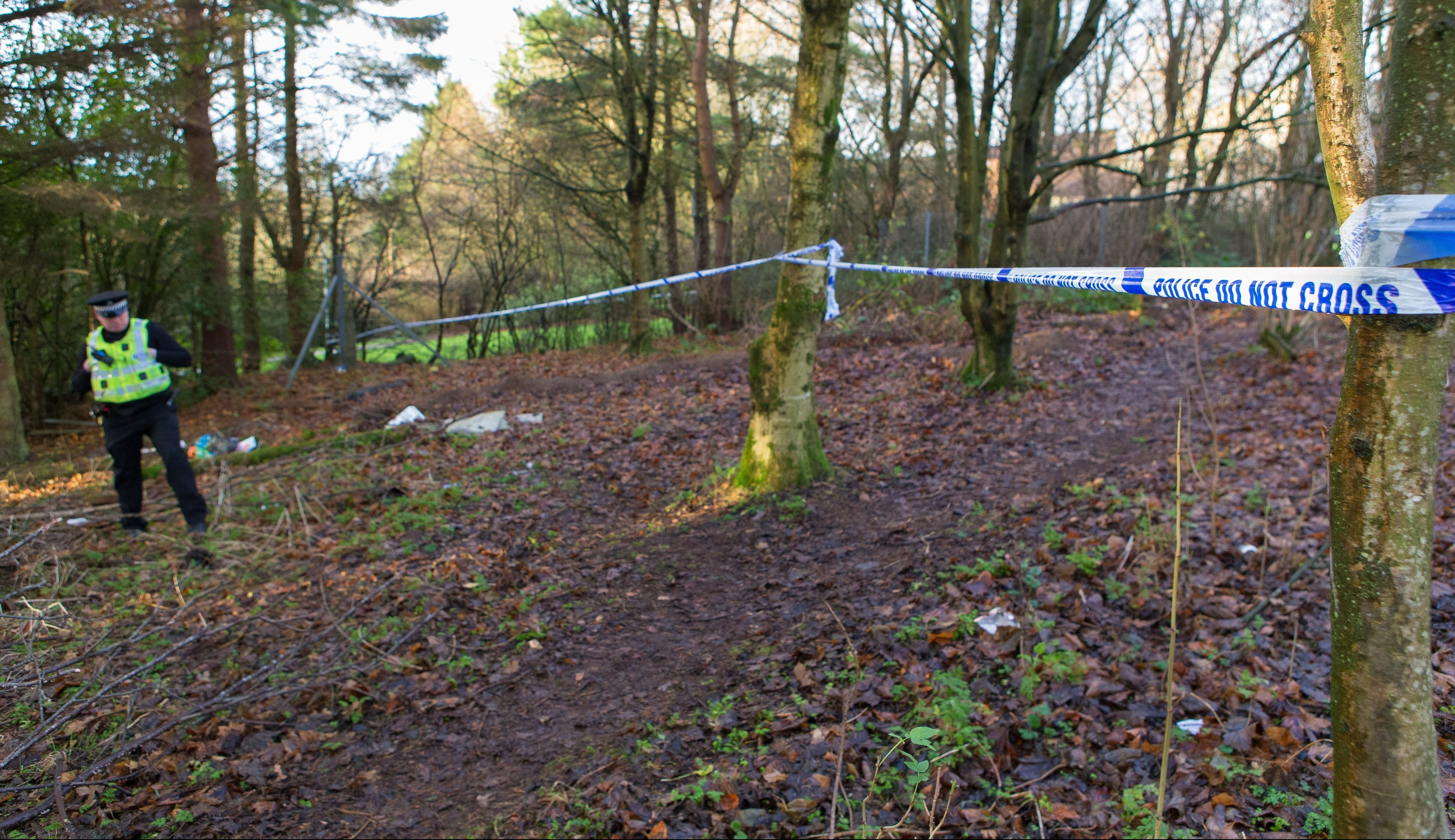 The scene on Monday after the body of a 52-year-old woman was found early on Sunday morning in Glenrothes.