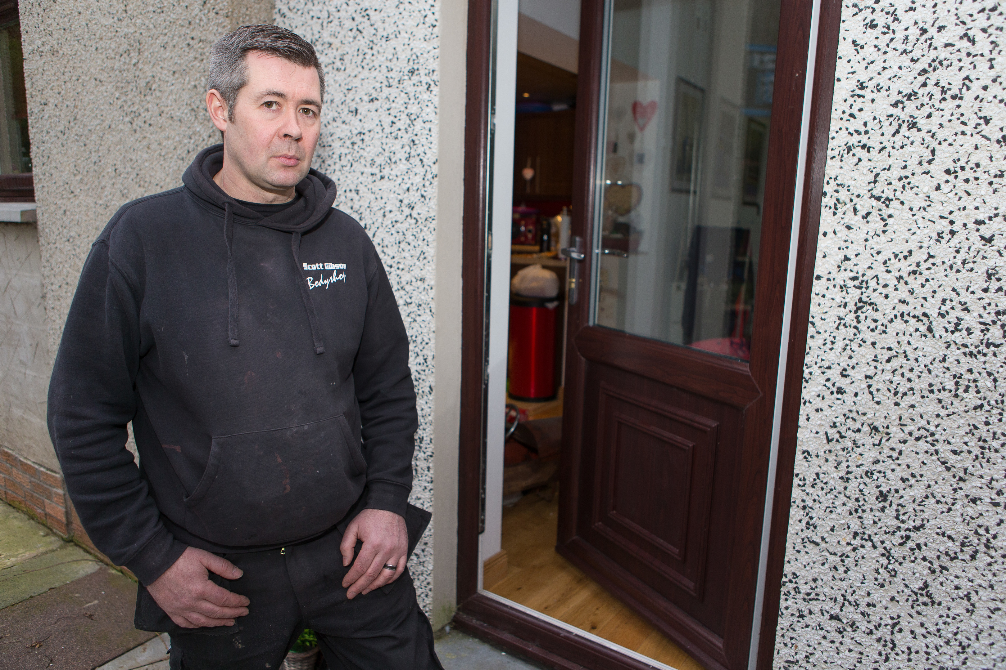 Home owner Scott Gibson, 44, at his property in Dunvegan Avenue, Kirkcaldy, which was broken into and many personal items were taken.