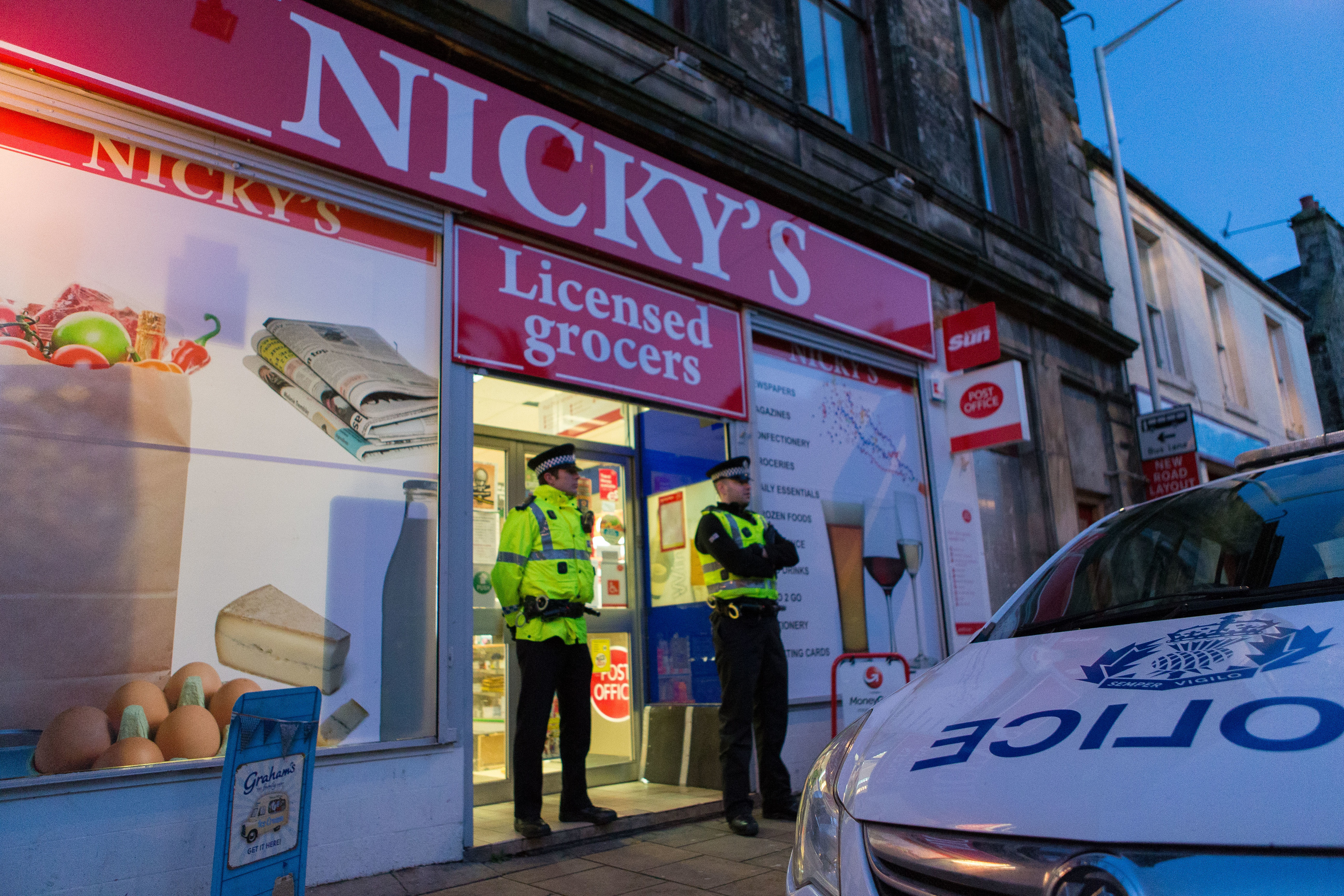 Nicky's licensed grocers in Kincardine was raided.