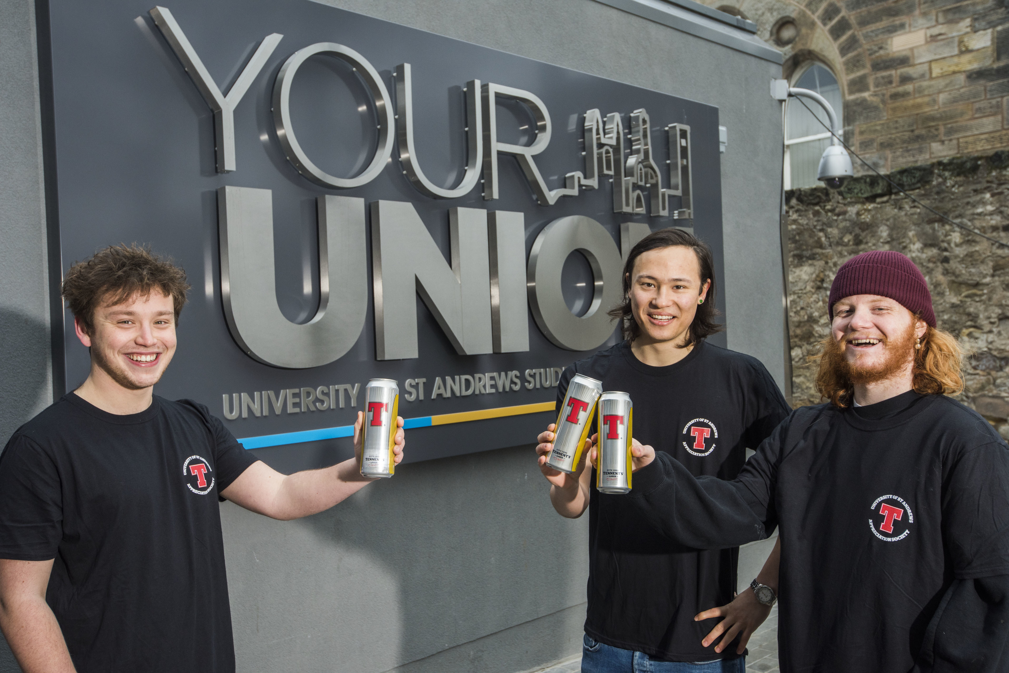Tom Coombes, Ollie McCausland and Will Abell were denied official recognition by the University of St Andrews for the Tennent's Lager Appreciation Society.