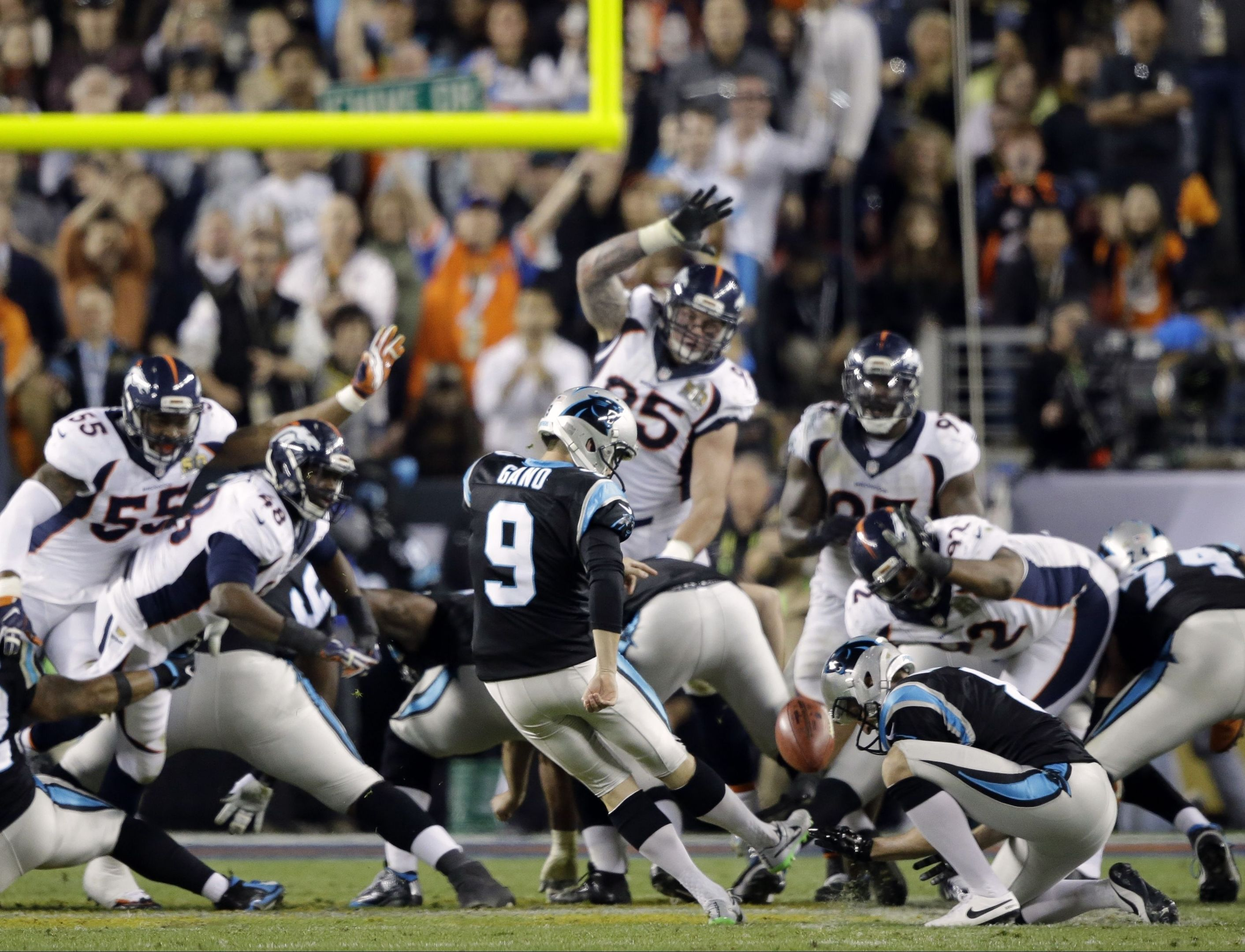 Gano (9) kicks a 39-yard field goal during the second half of the NFL Super Bowl 50 football game.