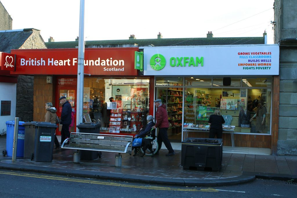 Charity shops on Brook Street, Broughty Ferry