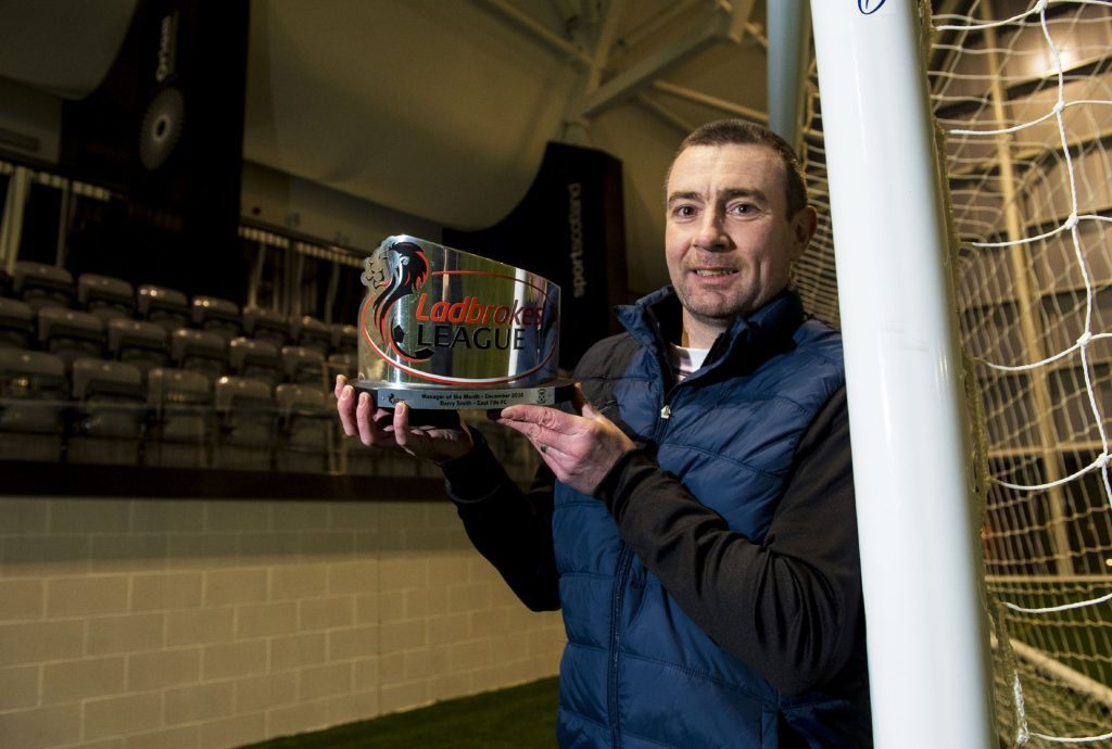 Barry Smith 12/01/17 EAST FIFE East Fife manager Barry Smith is presented with the Ladbrokes League 1 Manager of the Month award for December