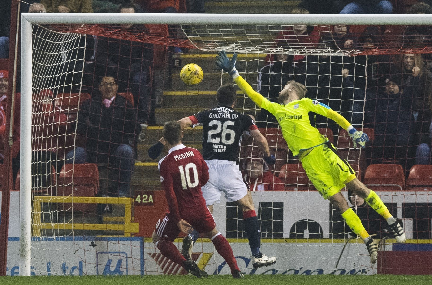 Scott Bain can't stop Aberdeen's third goal from Niall McGinn.