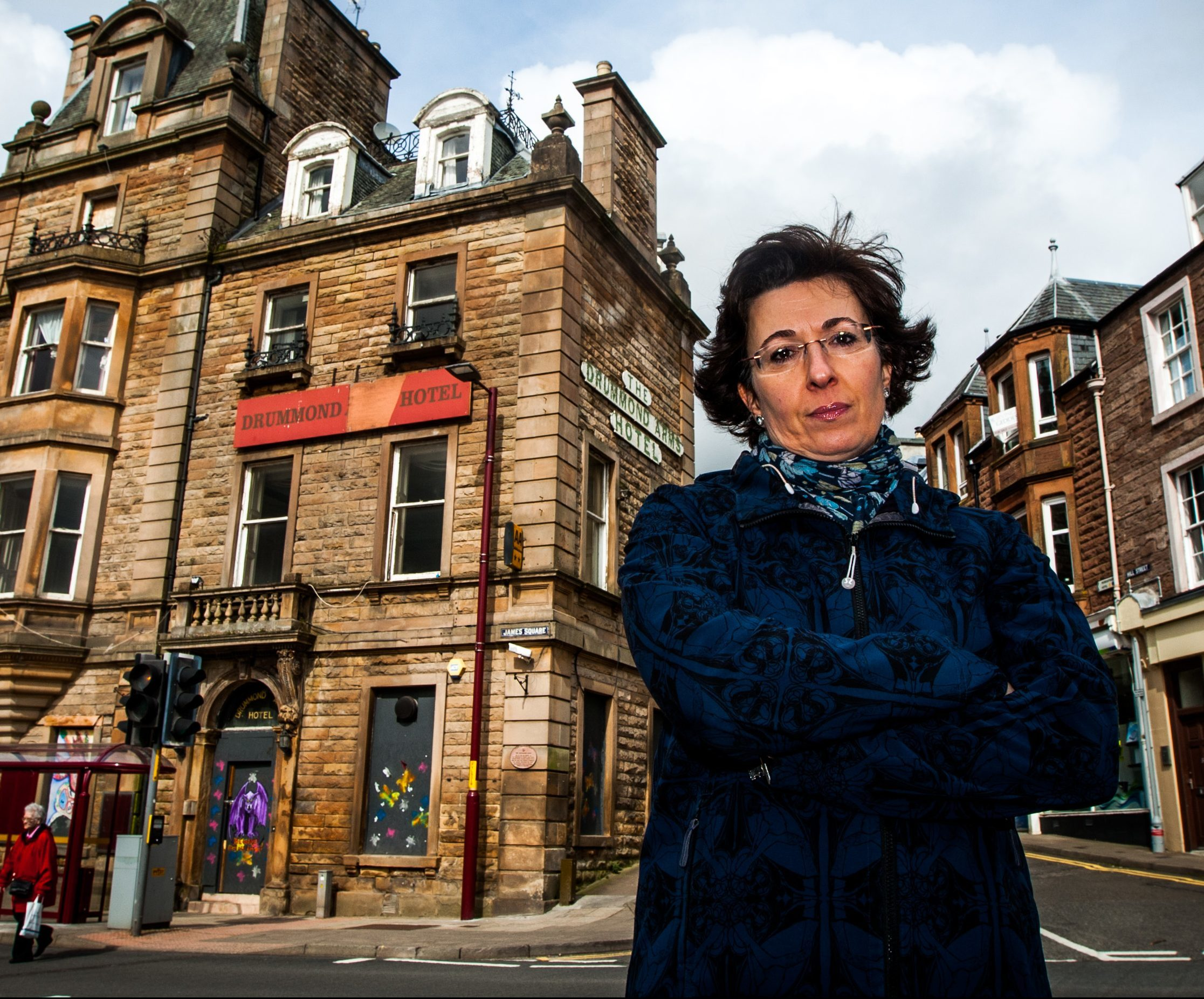 Ailsa Campbell, chair of Crieff Community Trust, outside the Drummond Arms Hotel.