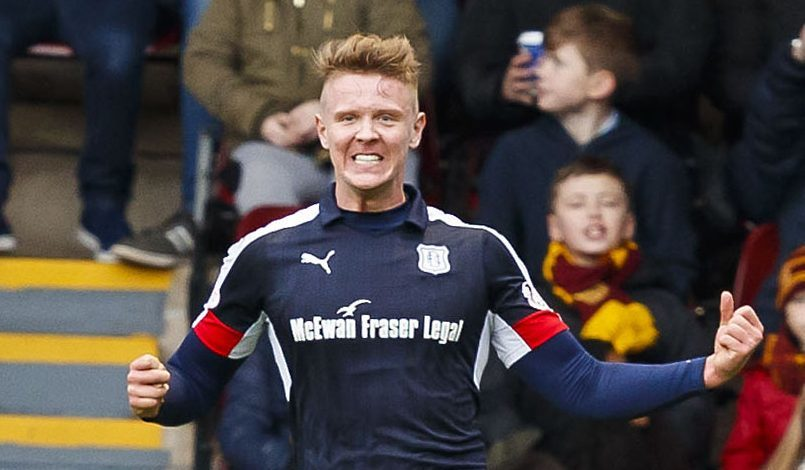 Dundee's Mark O'Hara celebrates his first half goal.
