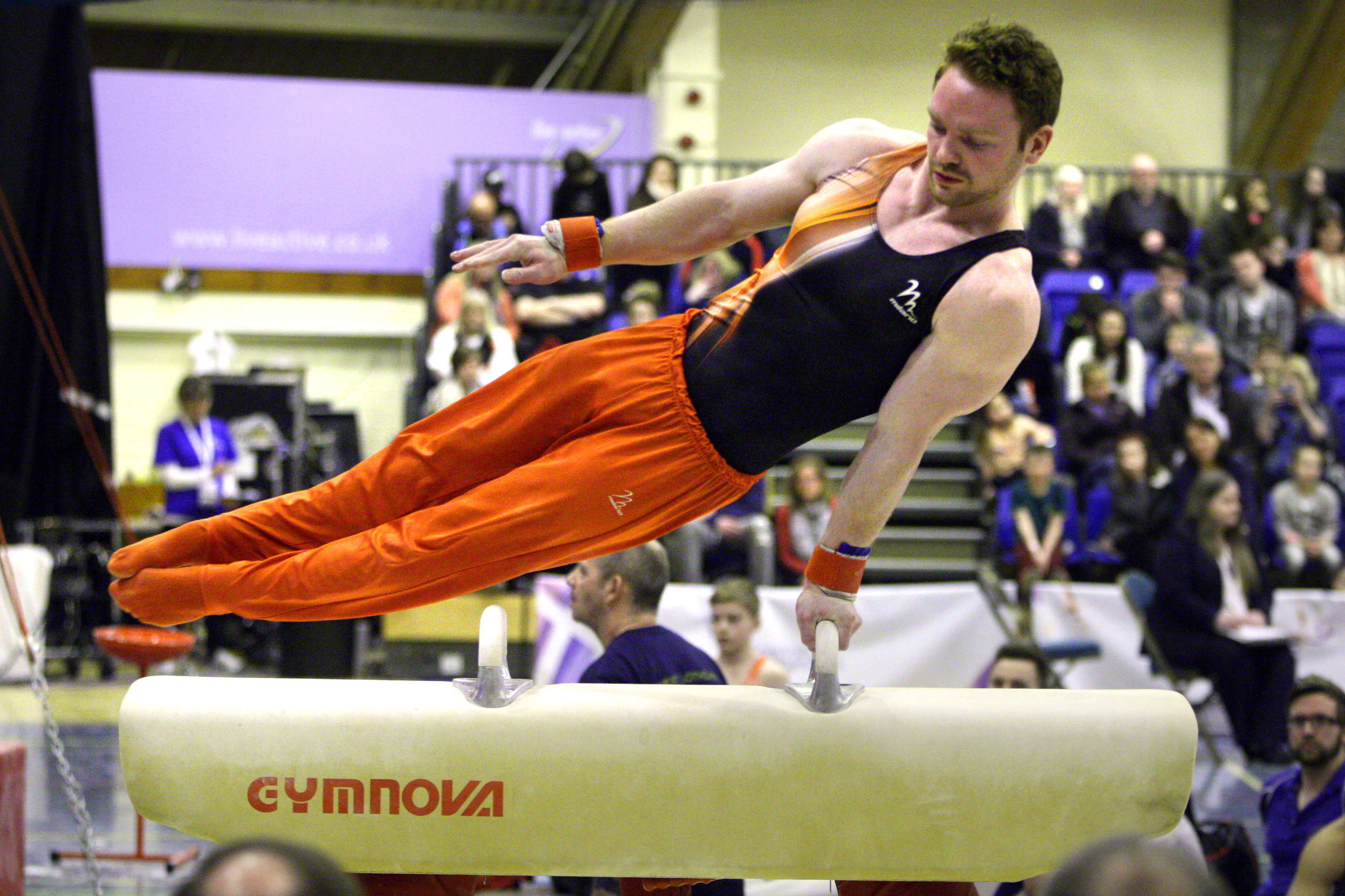 Daniel Purvis on the pommel horse at Bells Sports Centre during the 2016  Scottish National Gymnastics Championships.