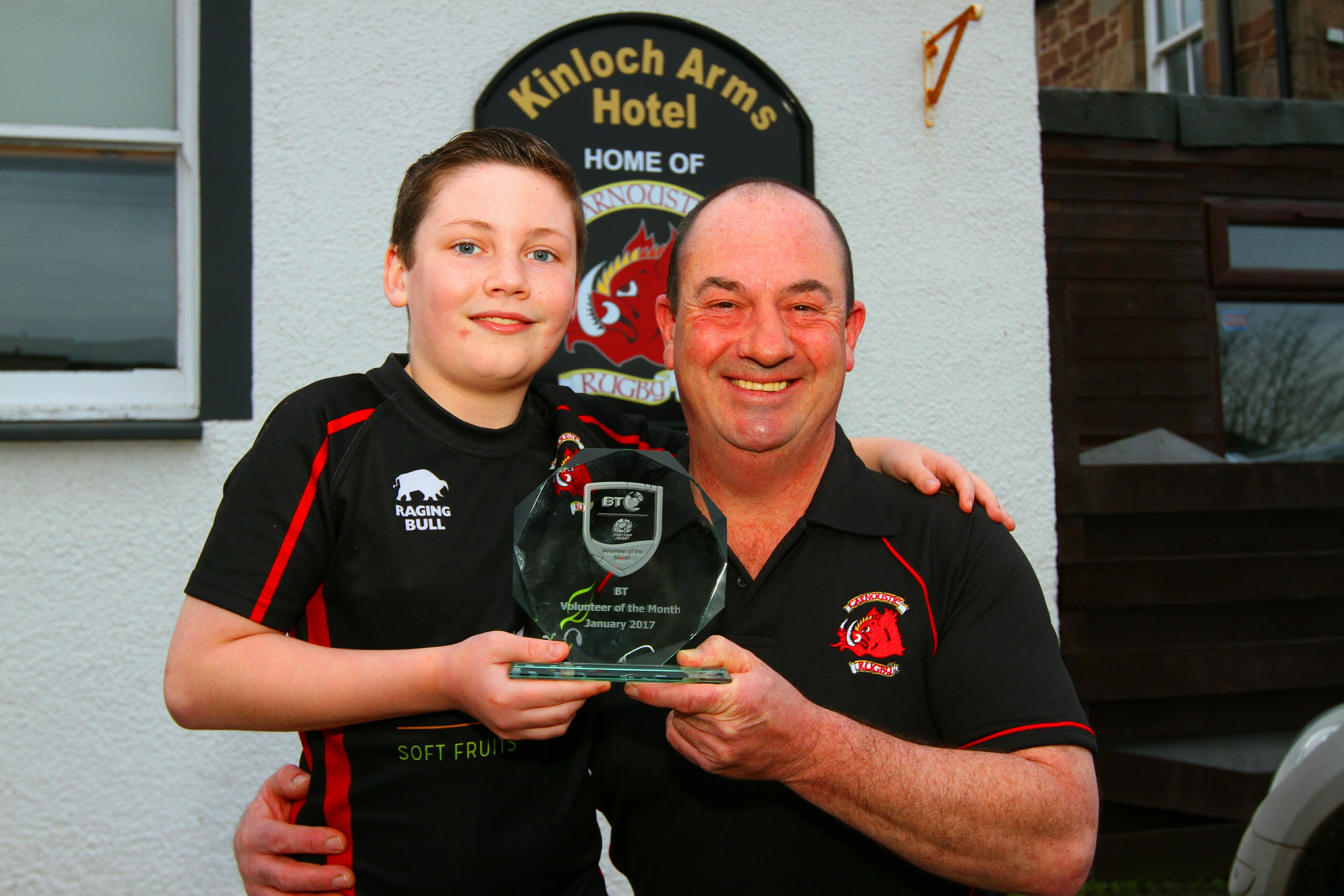 Scottish Rugby volunteer of the month award winner Calum Bruce of Carnoustie Rugby Club and his son Brandon as the club prepares for the June anniversary event
