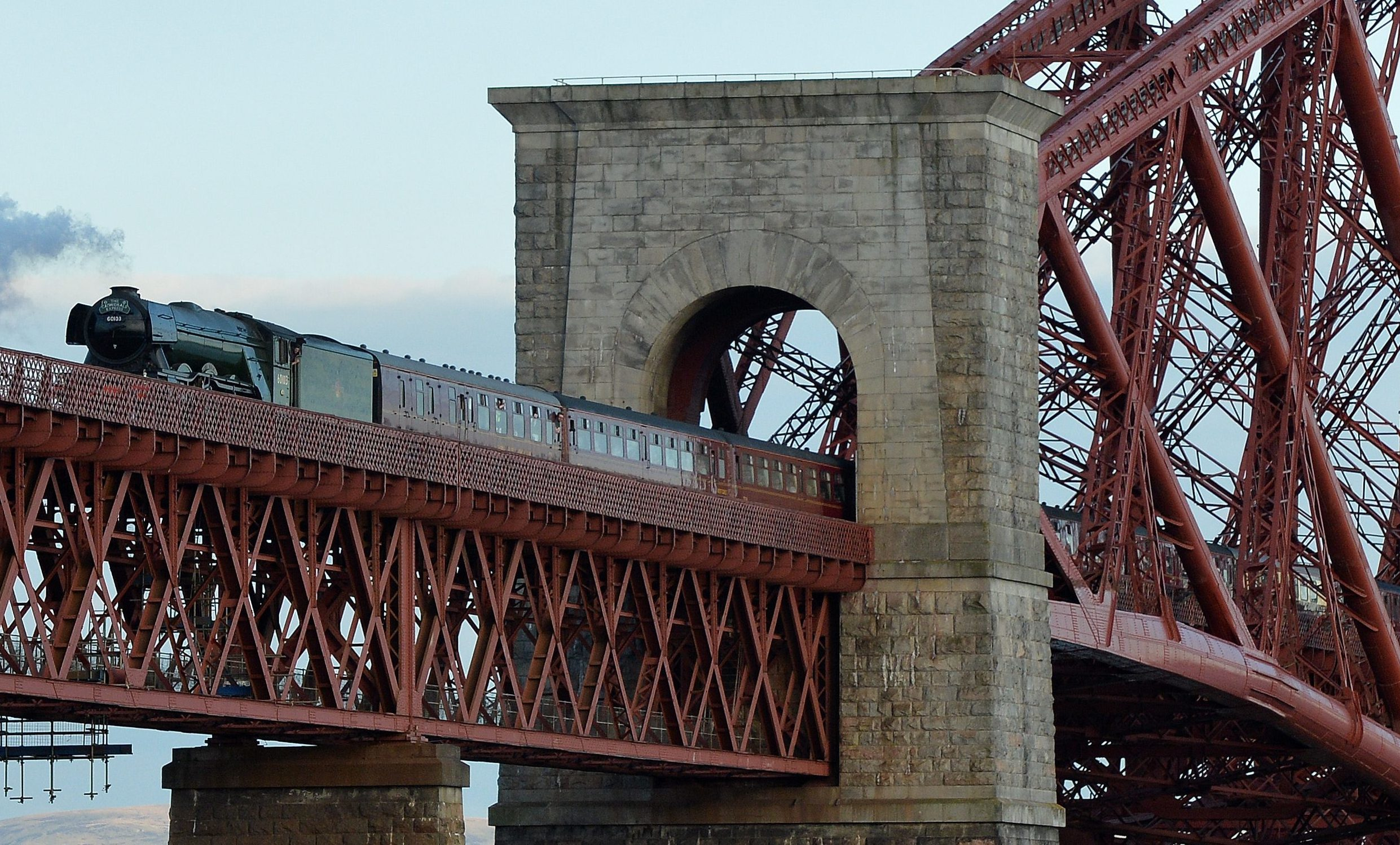 The Flying Scotsman crosses the Forth Rail Bridge on May 15 2016.