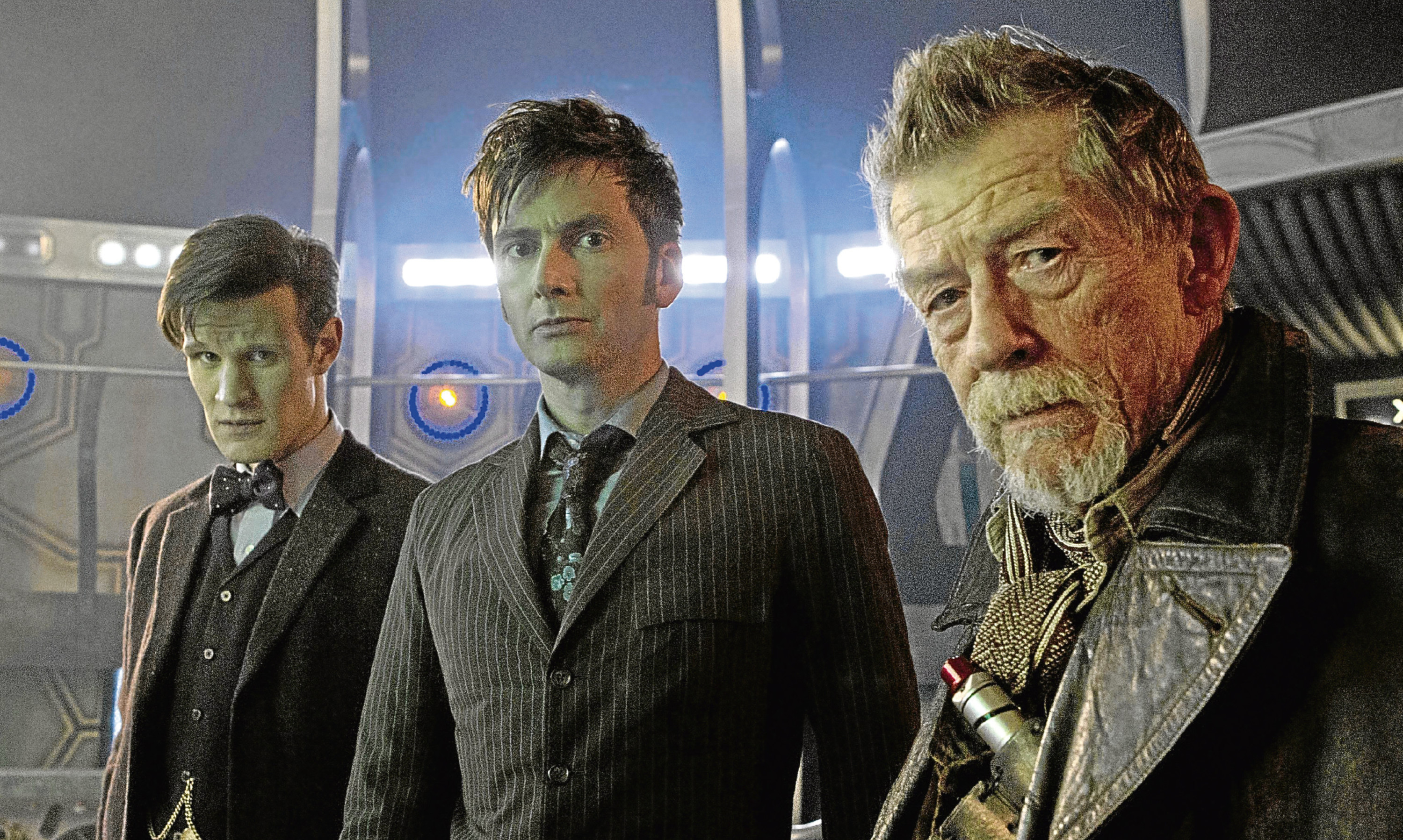 The late Sir John Hurt, right, as Doctor Who alongside former Doctors Matt Smith and David Tennant. Mike says the time is now right for a female Doctor Who.
