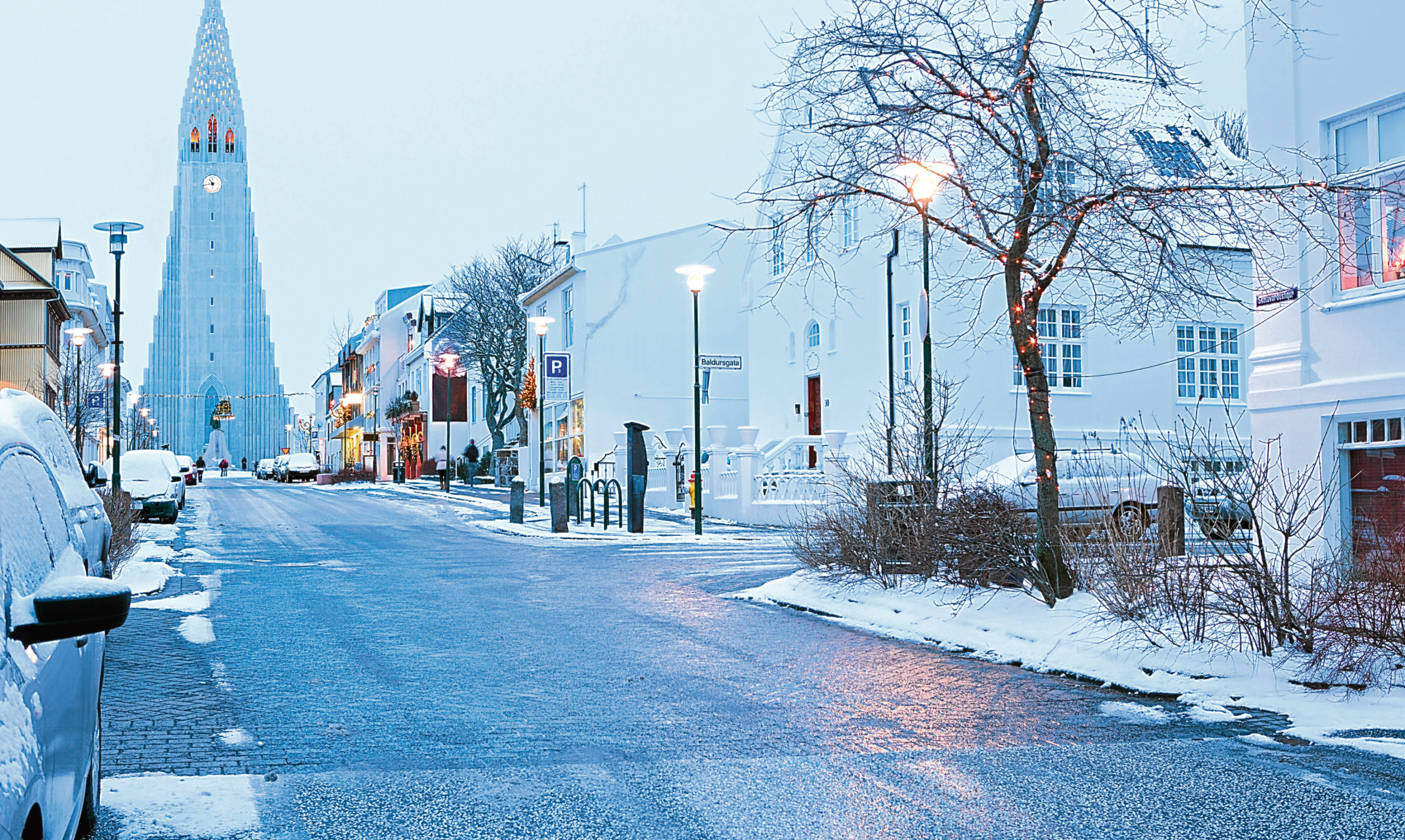 Dusk falls on a winter afternoon in Reykjavik, capital of Iceland.