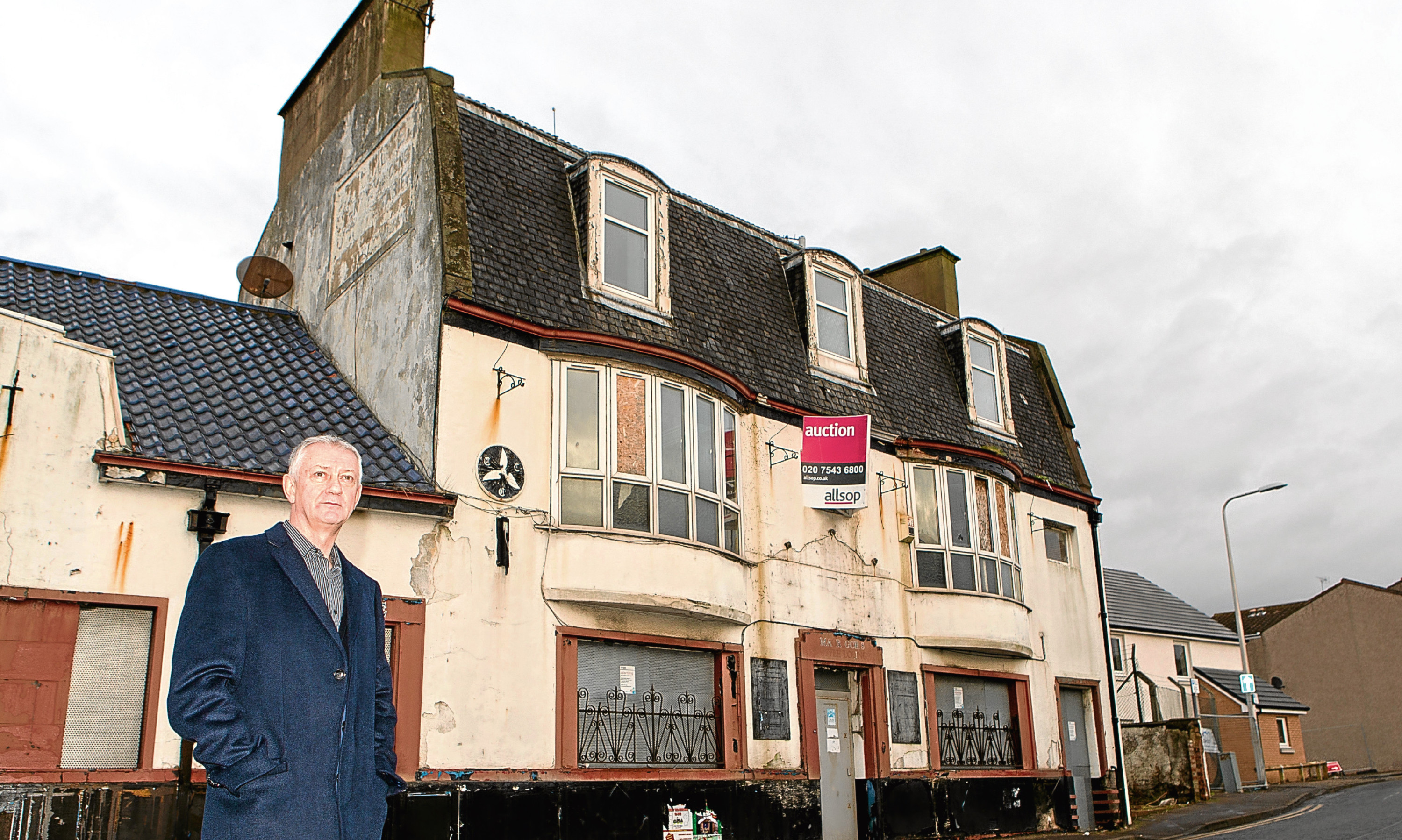 Councillor Tom Adams outside the former Threeways Inn, Leven. Pub chain JD Wetherspoon has decided not to develop the building.