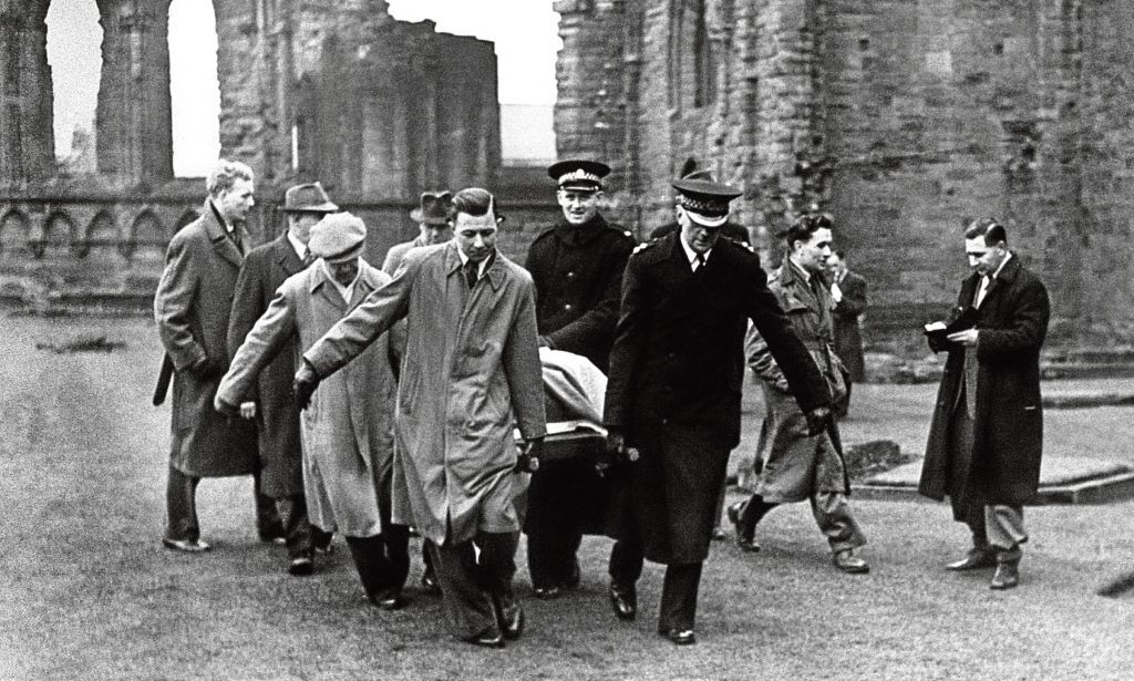 The Stone of Scone - the Scottish Stone of Destiny - which went missing from Westminster Abbey on Christmas Day, 1950 - being removed from Arbroath Abbey.