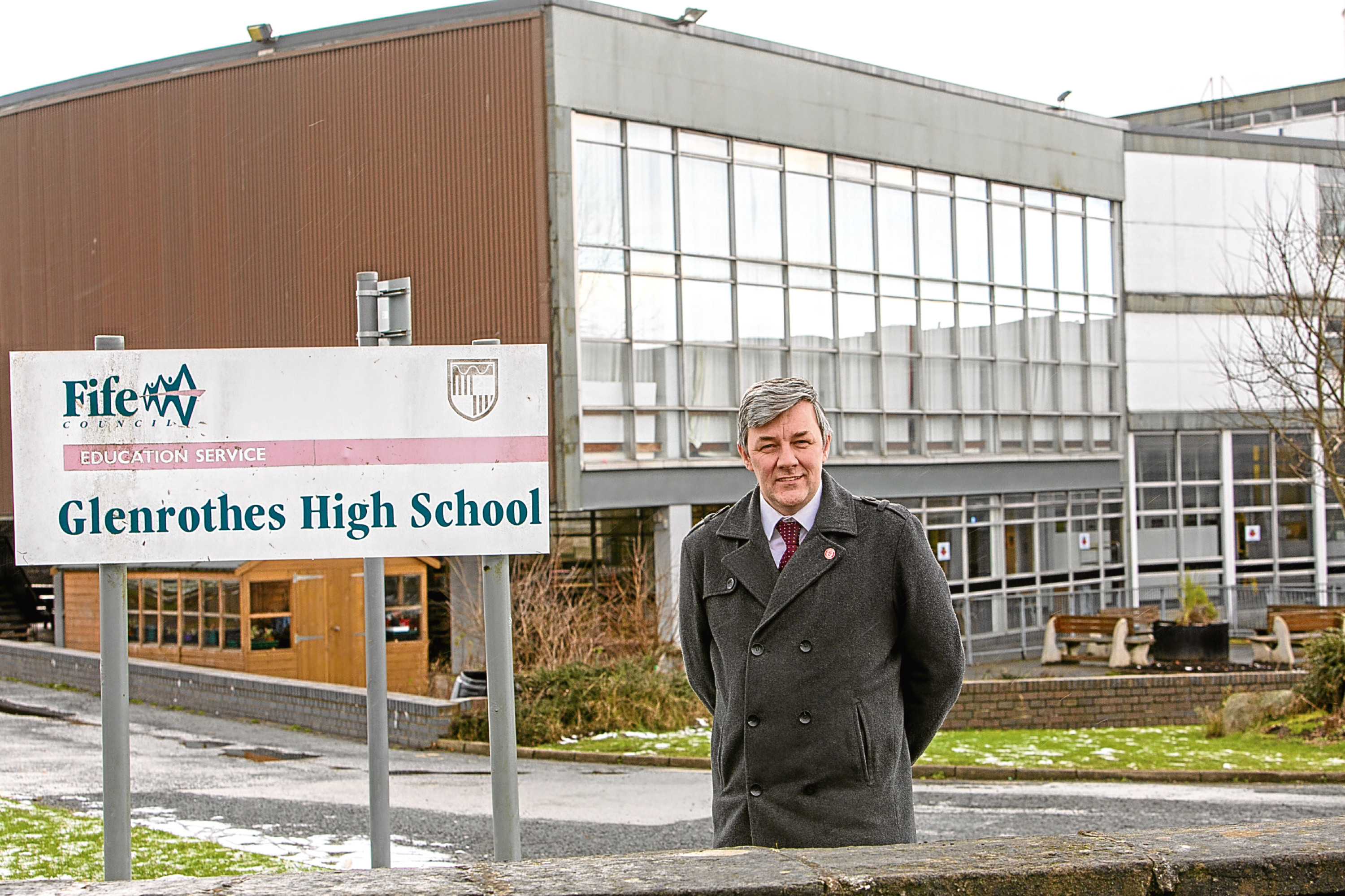 Councillor Altany Craik outside Glenrothes High School.